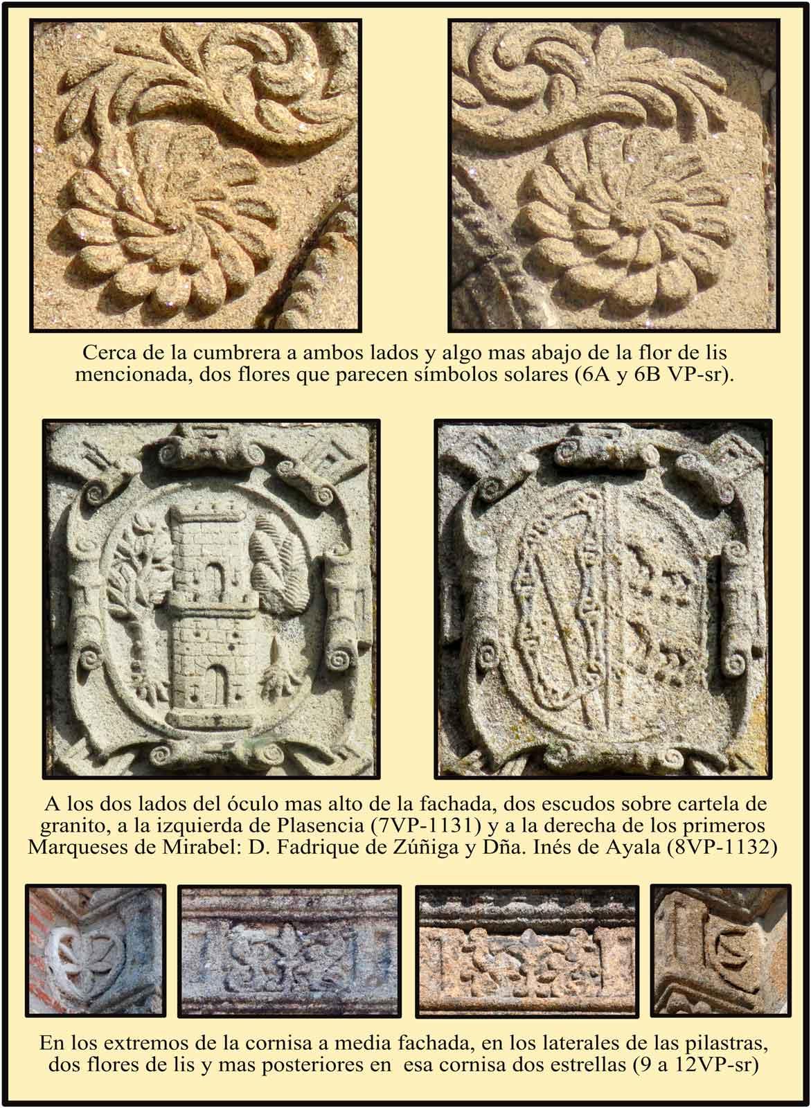 Simbolos marianos y escudos de Plasencia y del  Marques de Mirabel