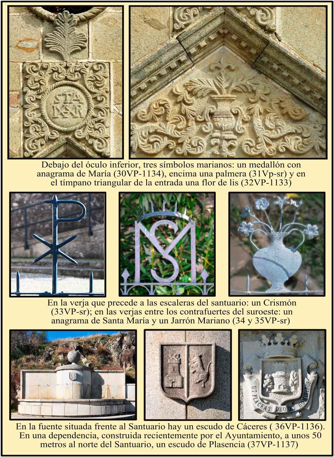 Simbolos marianos sobre la puerta de entrada a la ermita de la Virgen del Puerto