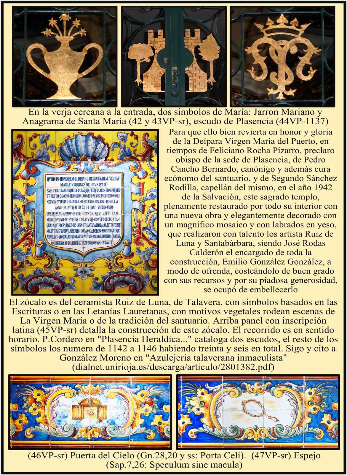 Escudos y simbolos en la reja. Inscripcion en azulejos sobre donación y montaje del zocalo