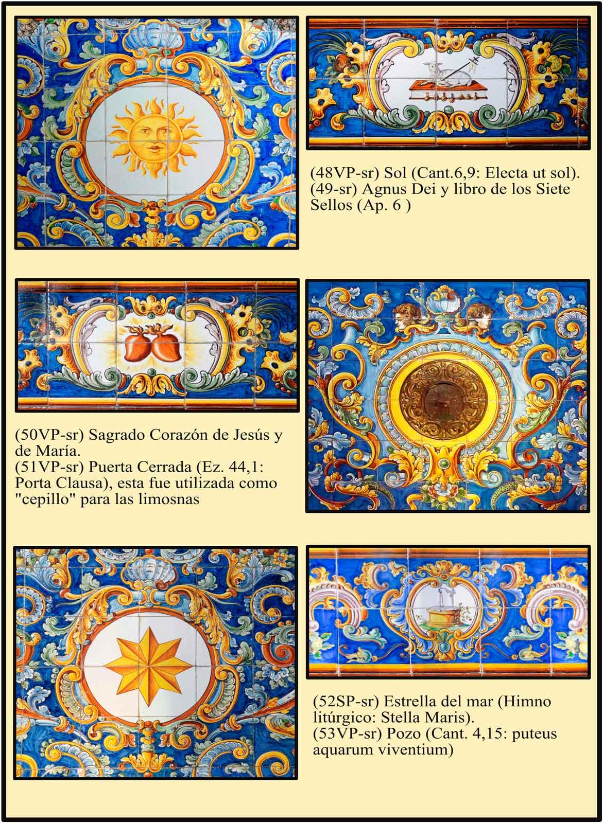 Zocalo de Azulejos de Talavera con simbolos marianos