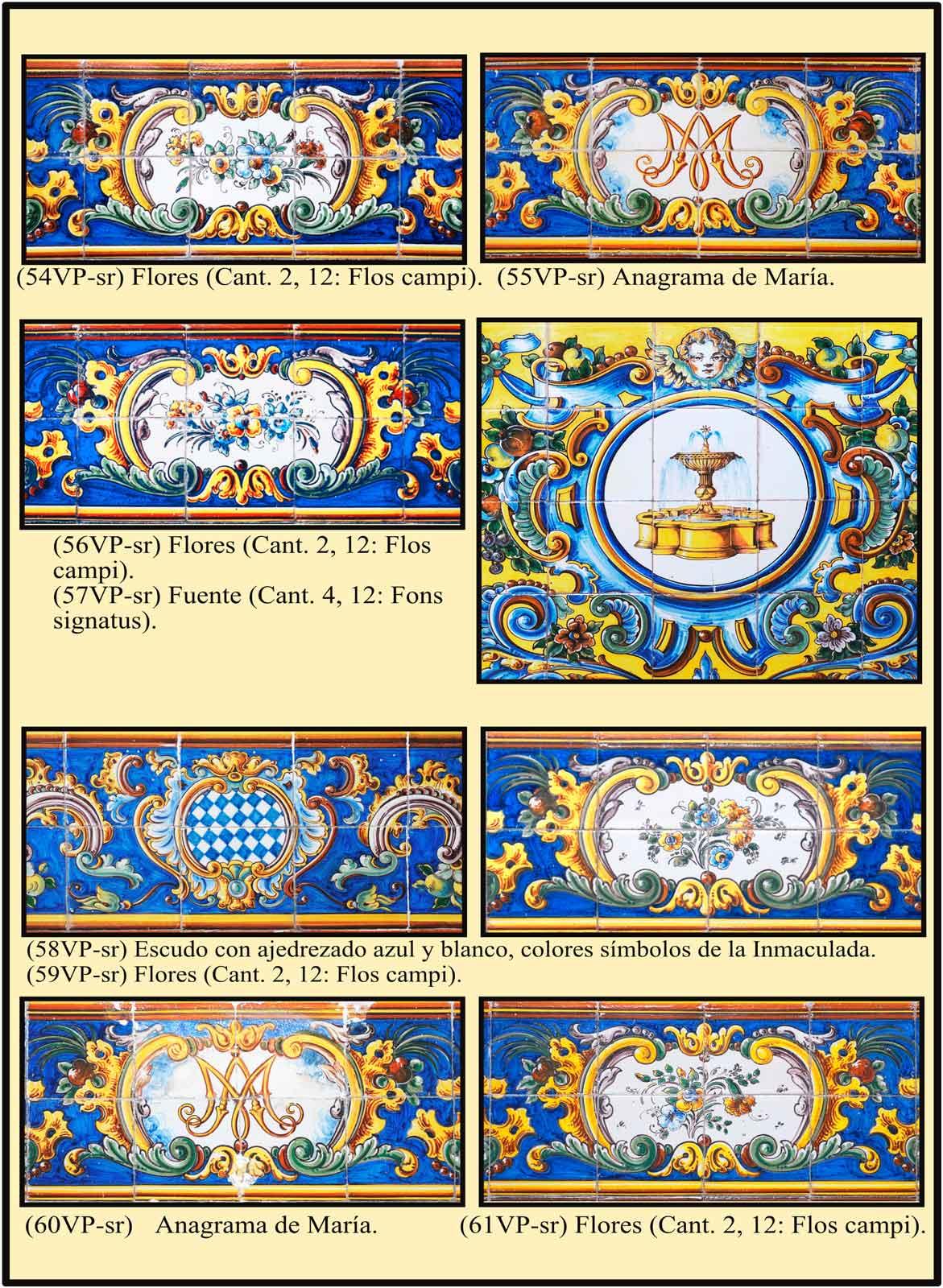 Azulejos con flores, fuente y distintos simbolos de Maria virgen
