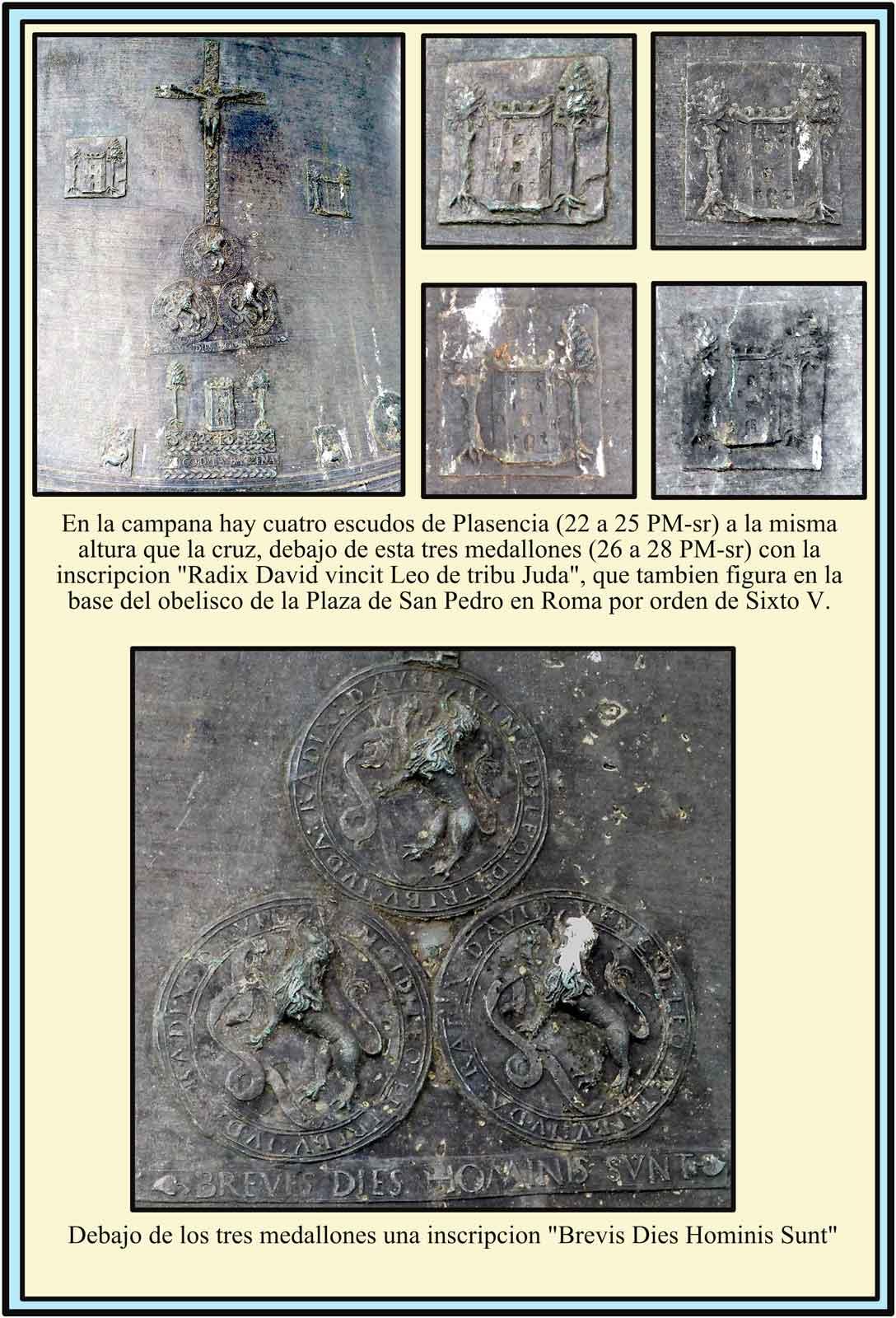 Escudos y símbolos en la campana del Ayuntamiento de Plasencia