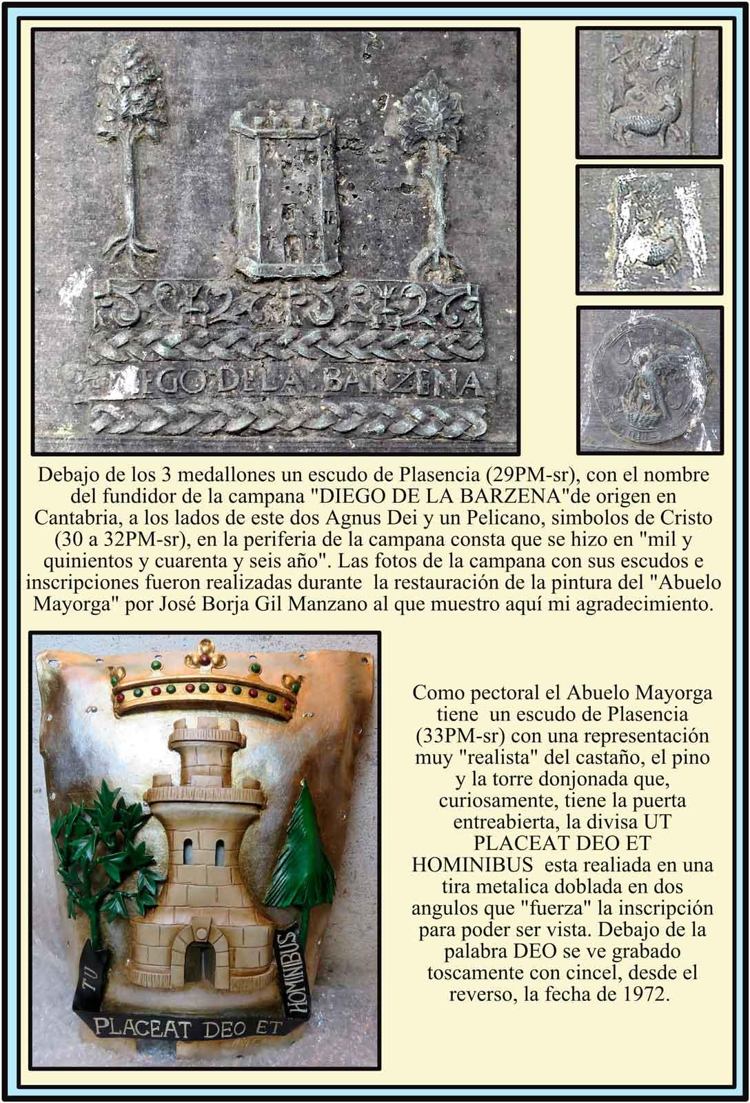 Escudos en la campana del Ayuntamiento y en el Pectoral del Abuelo Mayorga
