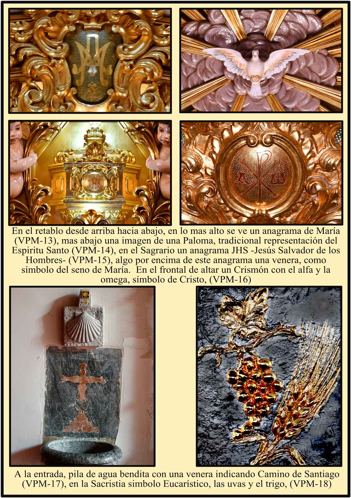 Simbolos en el Altar Mayor Venera Camino de Santiago Madrid