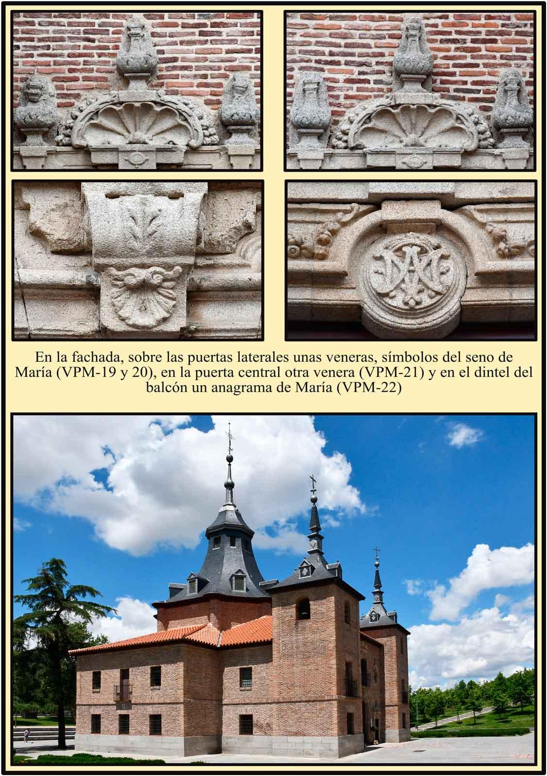 Madrid Simbolos Marianos en la Fachada de La Ermita del Puerto