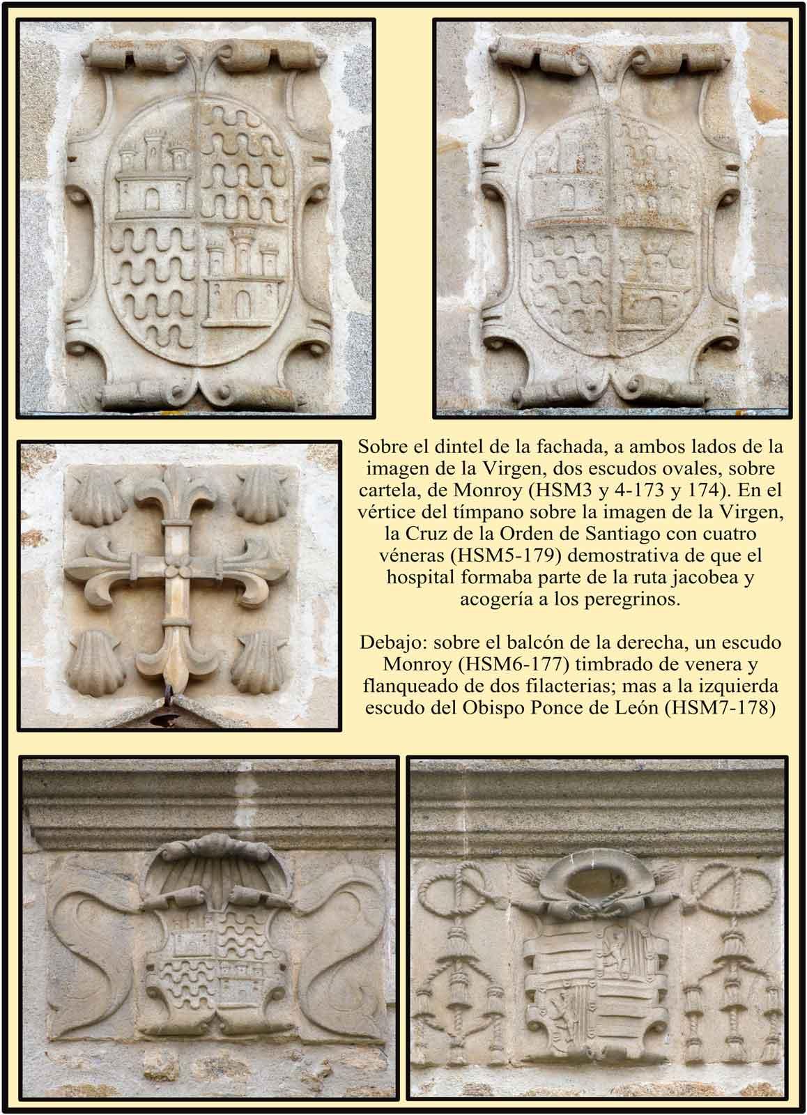 Escudos Monroy Ponce de leon y cruz de Santiago Hospital Santa María Plasencia