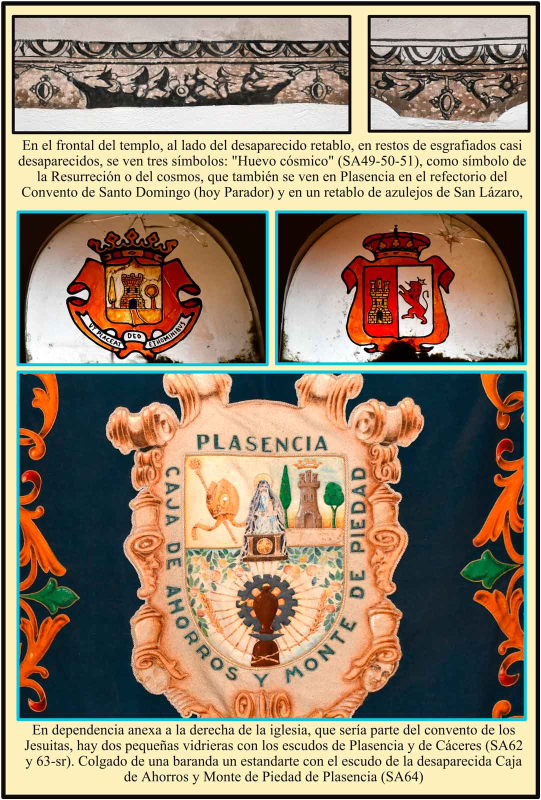 Santa Ana Vidrieras y estandarte con el escudo de la Caja de Ahorros de Plasencia