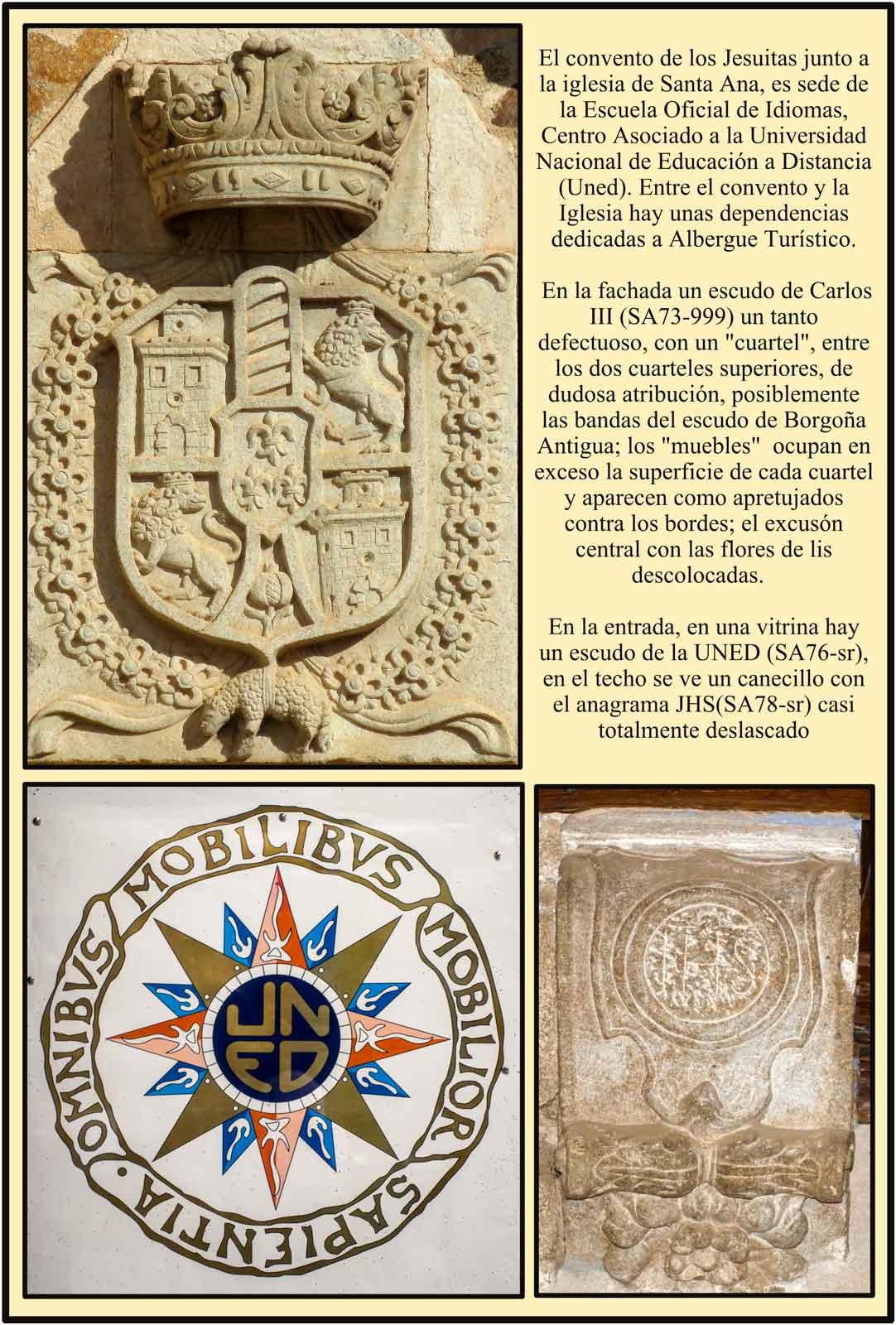 Plasencia Escudo de Carlos III y escudo de la Uned Universidad nacional de Educación a Distancia