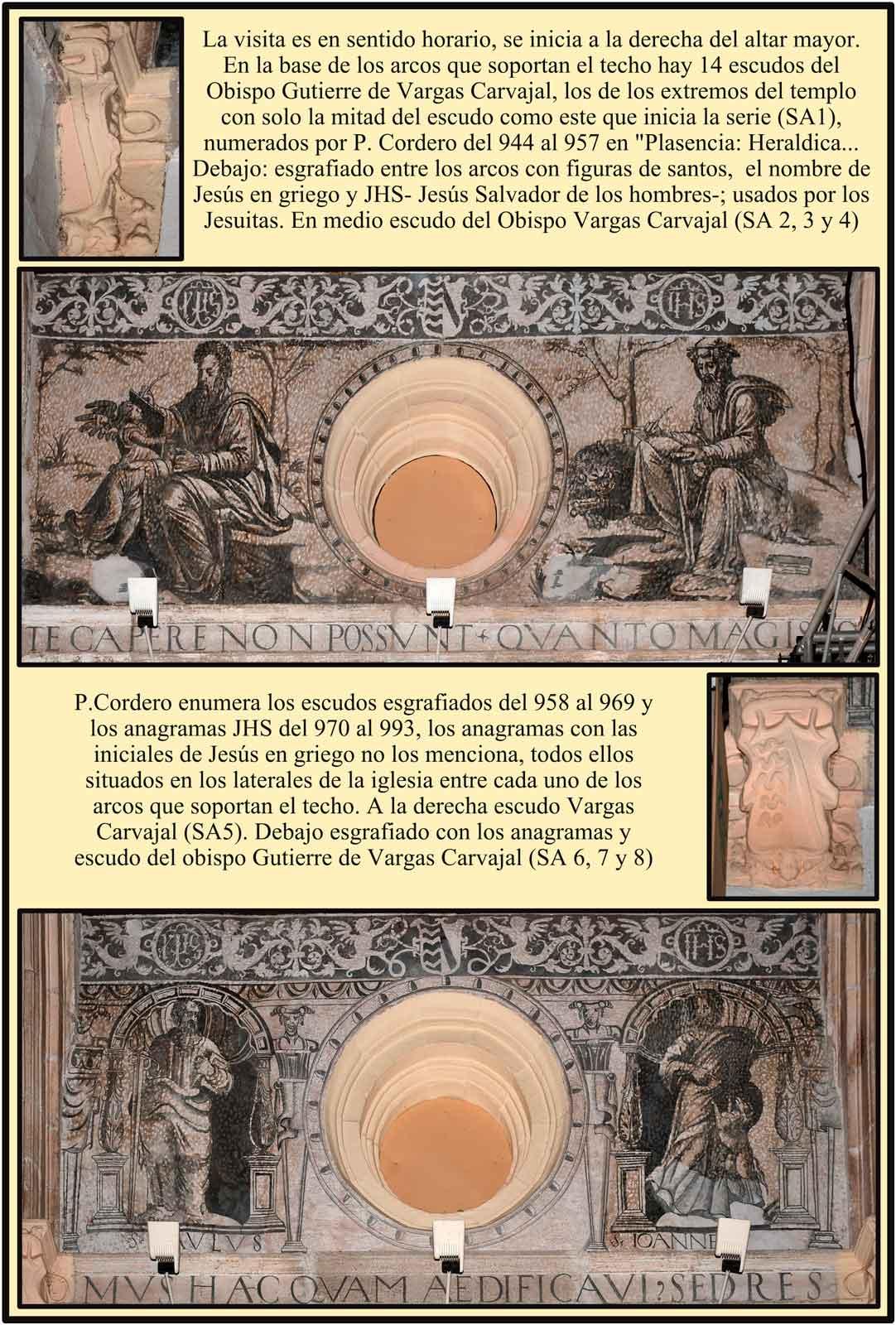 Convento de los Jesuitas Escudos y anagramas en la base de los arcos de la Iglesia de Santa Ana