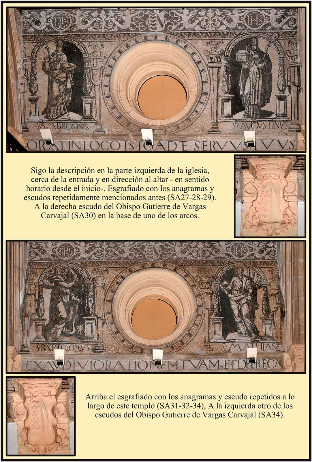 Plasencia Escudos y anagramas en esgrafiados y base de los arcos del techo. Anta Ana