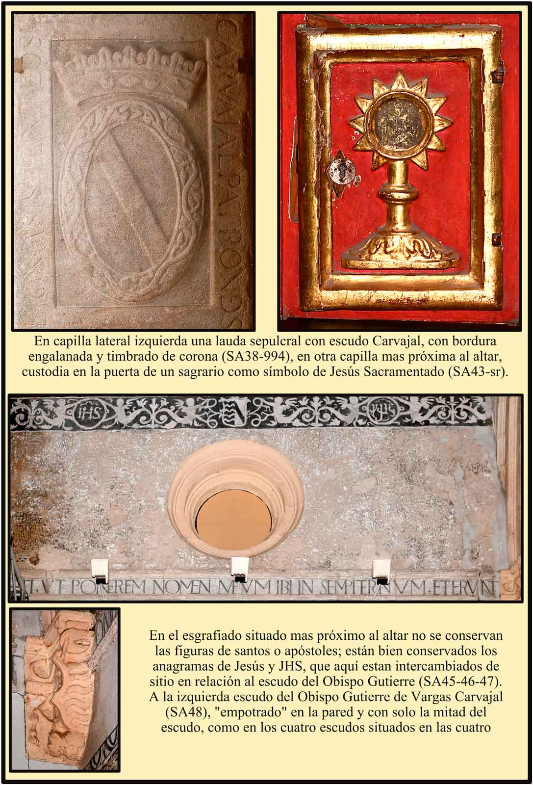 Santa Ana Lapida sepulcral con escudo de Carvajal custodia simbolo de Cristo