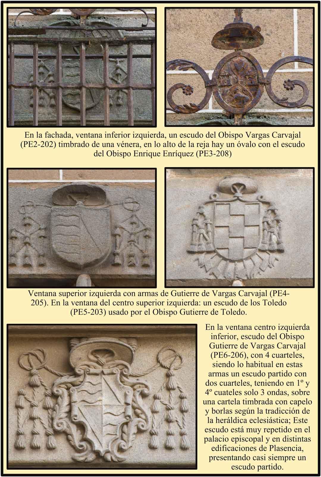 Plasencia  Escudos de las ventanas del Palacio Episcopal