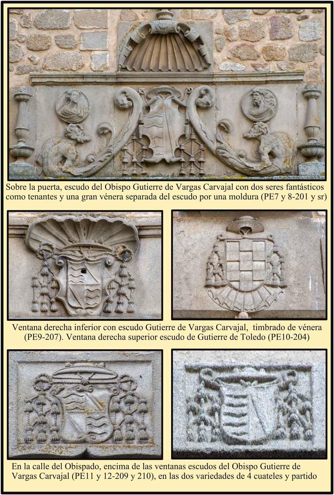 escudos de obispos en la fachada del Palacio Episcopal de Plasencia