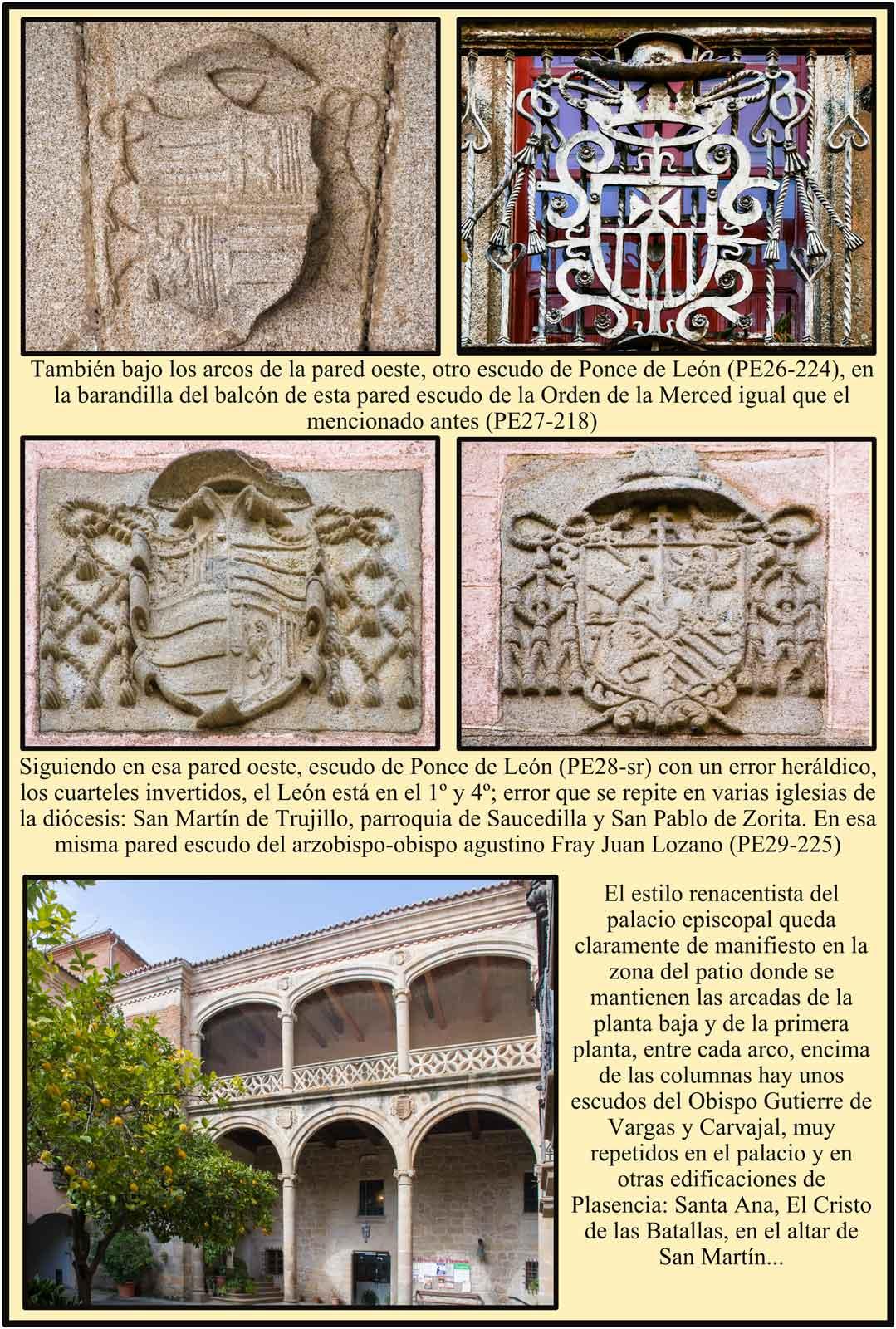 Escudo Ponce de Leon con error heraldico en el patio del Palacio Episcopal