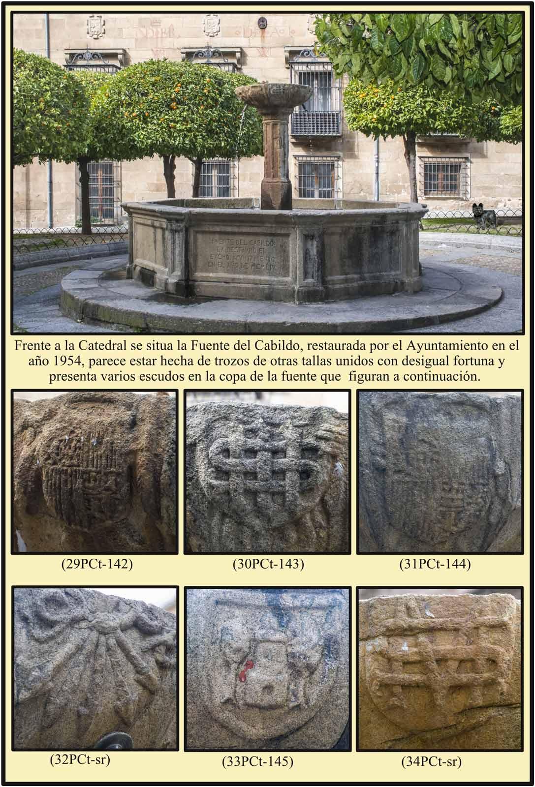Plaza de la Catedral Fuente del Cabildo escudos en la copa Reyes Catolicos Plasencia Santa Maria