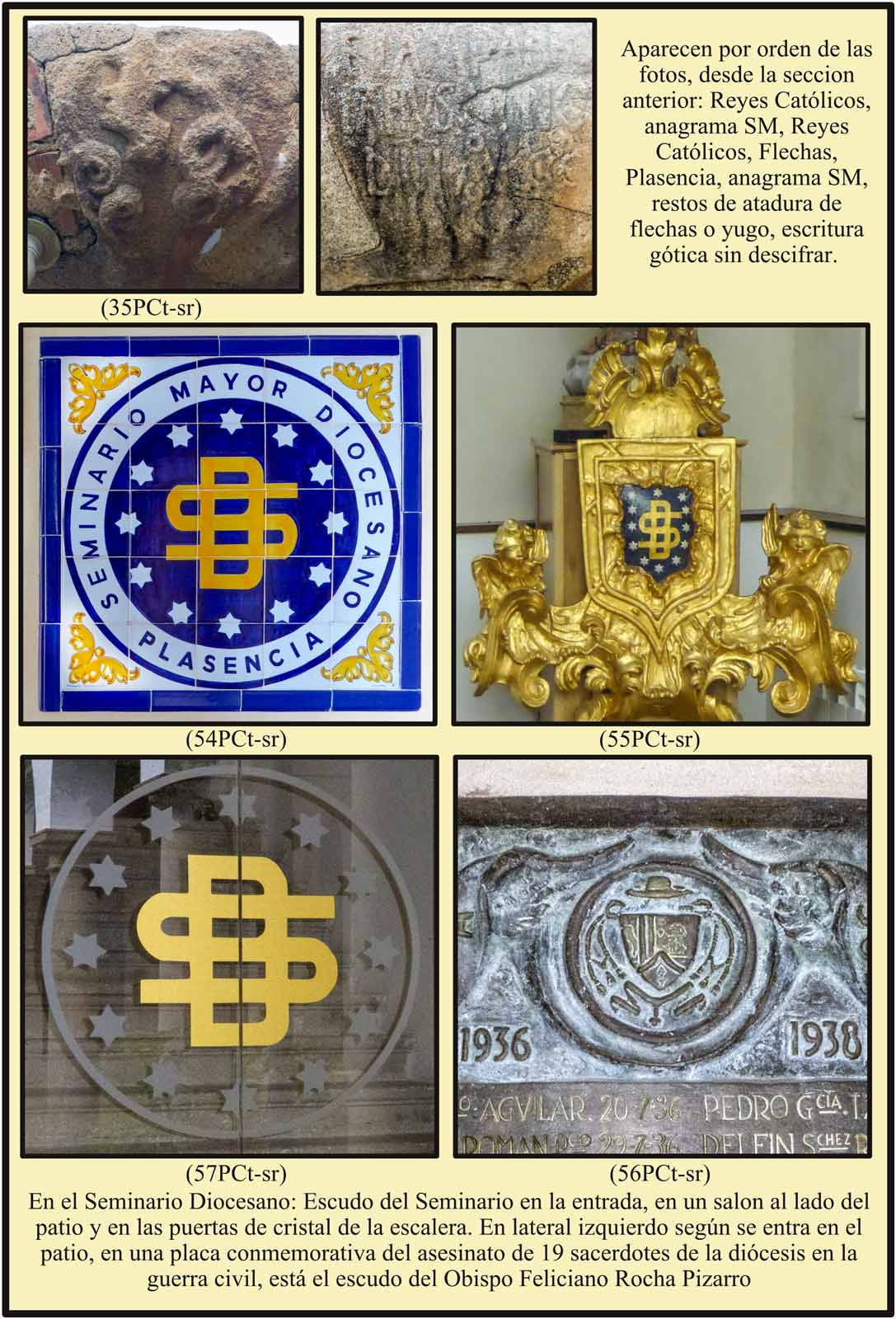Escudos del Seminario Diocesano Obispo Feliciano rocha placa sacerdotes asesinados en la guerra civil