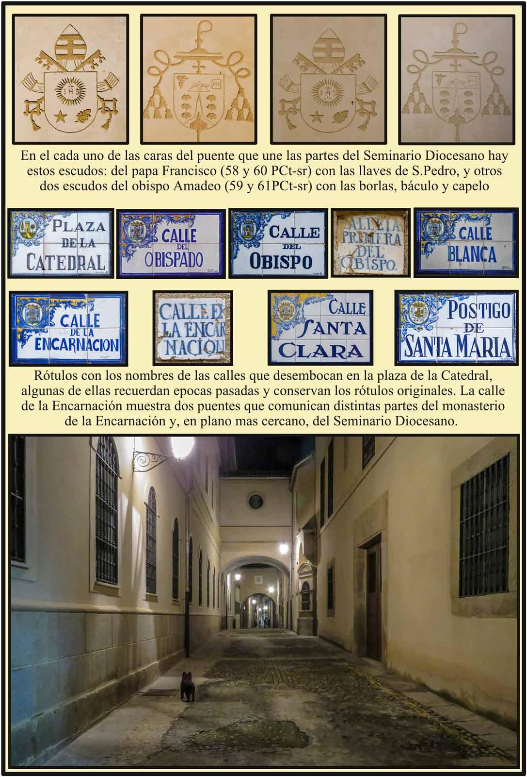 Plasencia  Calle de la Encarnación escudos obispo Amadeo y papa Francisco
