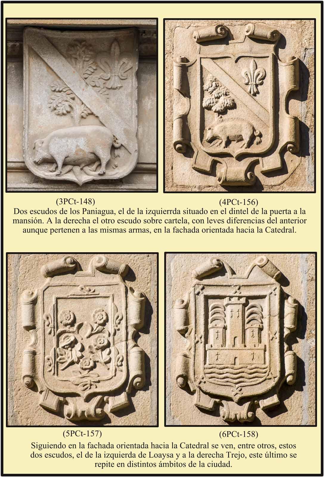 Escudos Paniagua Loaysa Trejo en las fachadas de la Casa del Dean Plaza de la Catedral