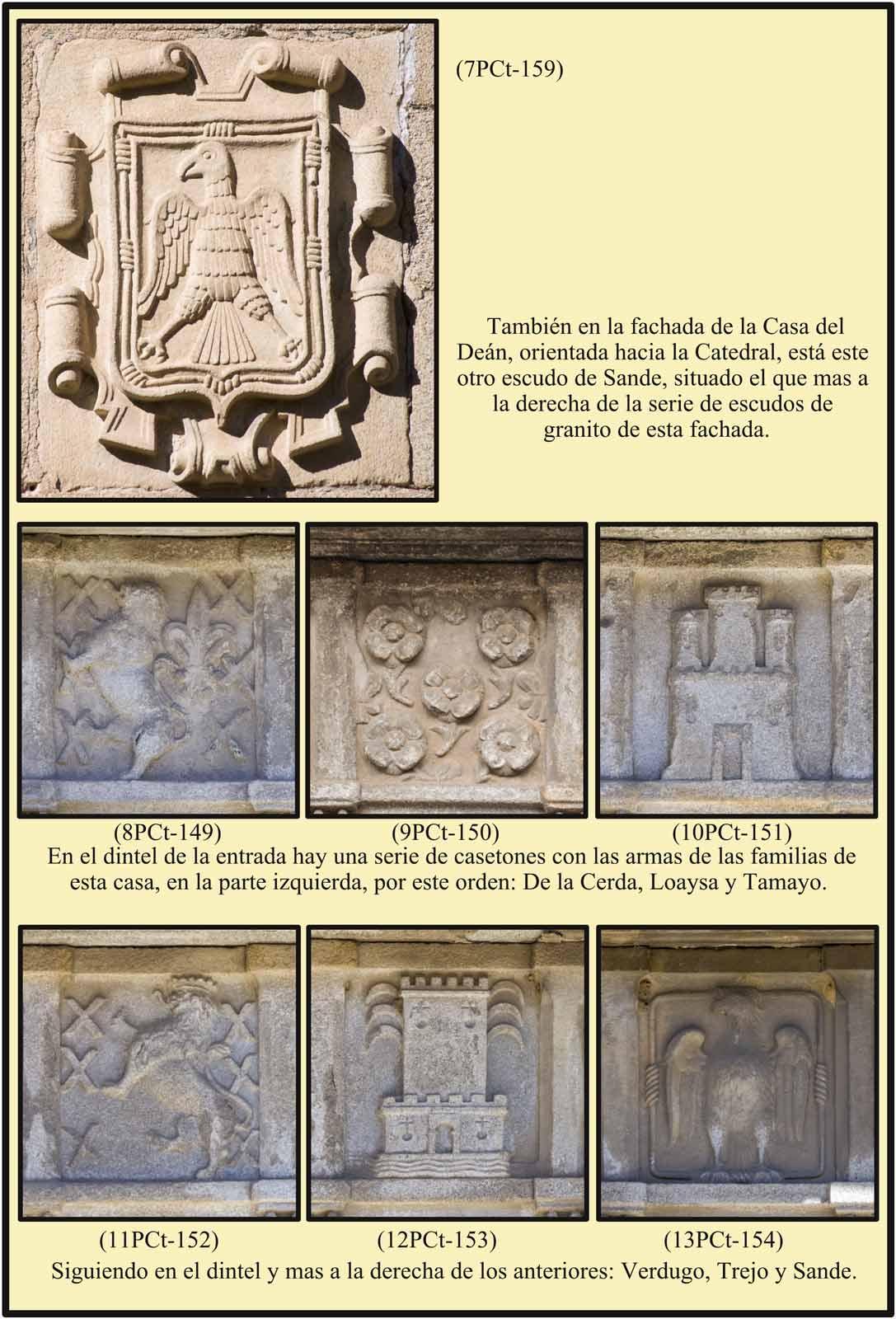Plasencia Plaza de la Catedral De la Cerda Loaysa Tamayo Verdugo Trejo Sande en casetones del dintel de la puerta