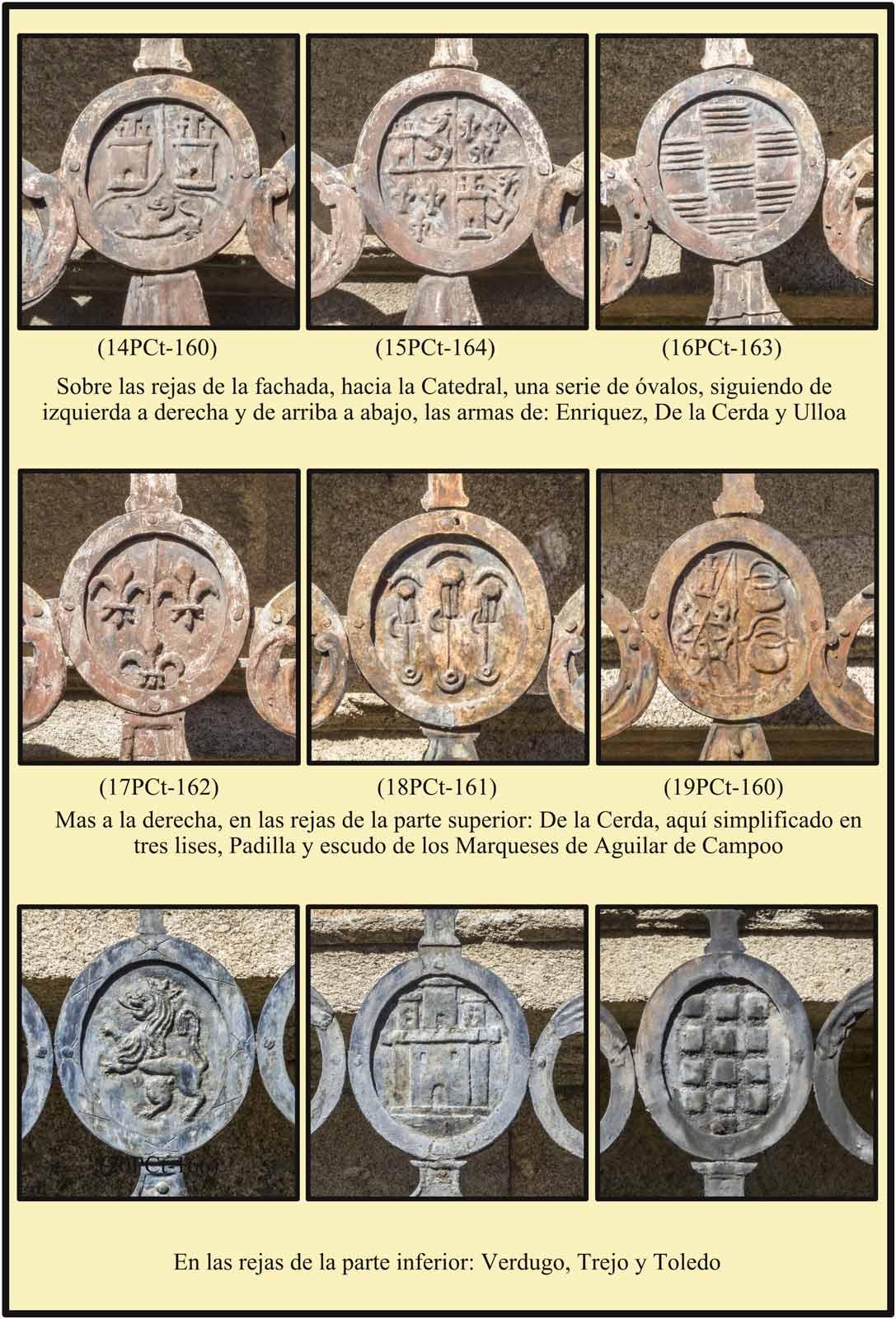 Casa del Dean Ovalos de las rejas con escudos  De la Cerda Padilla Ulloa Enriquez Verdugo Trejo Toledo