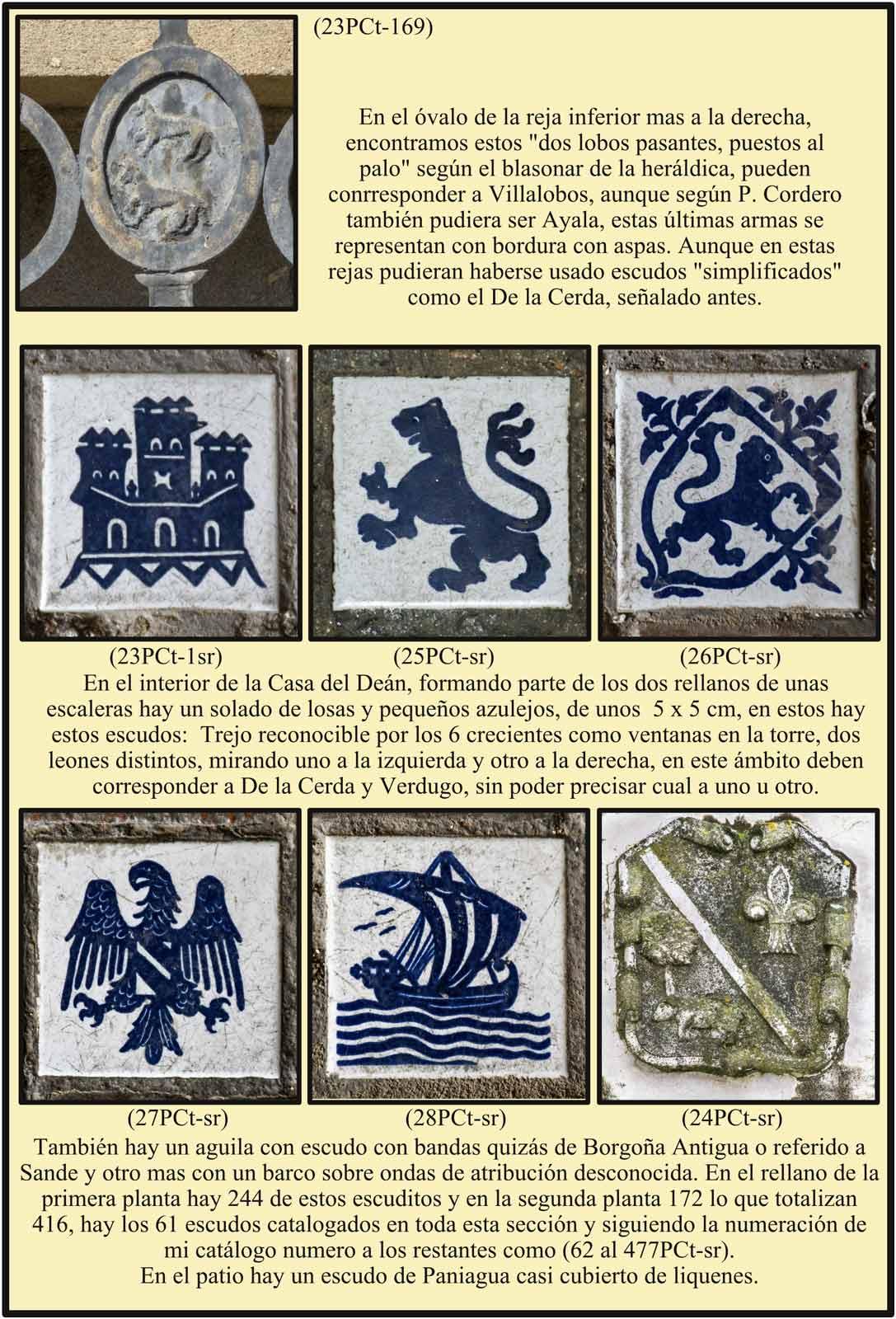 Escudos en el suelo de dos rellanos de la Casa del Dean Casa del Dean Patio con escudo Paniagua