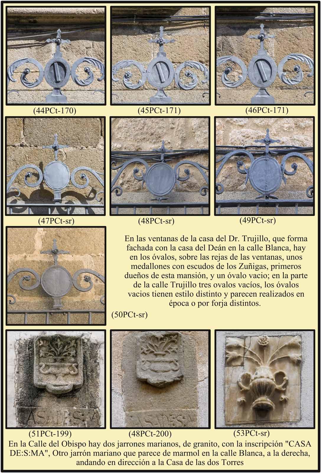 escudos Zuñiga Anagrama Santa Maria en calle del Obispo y Calle Blanca Plasencia