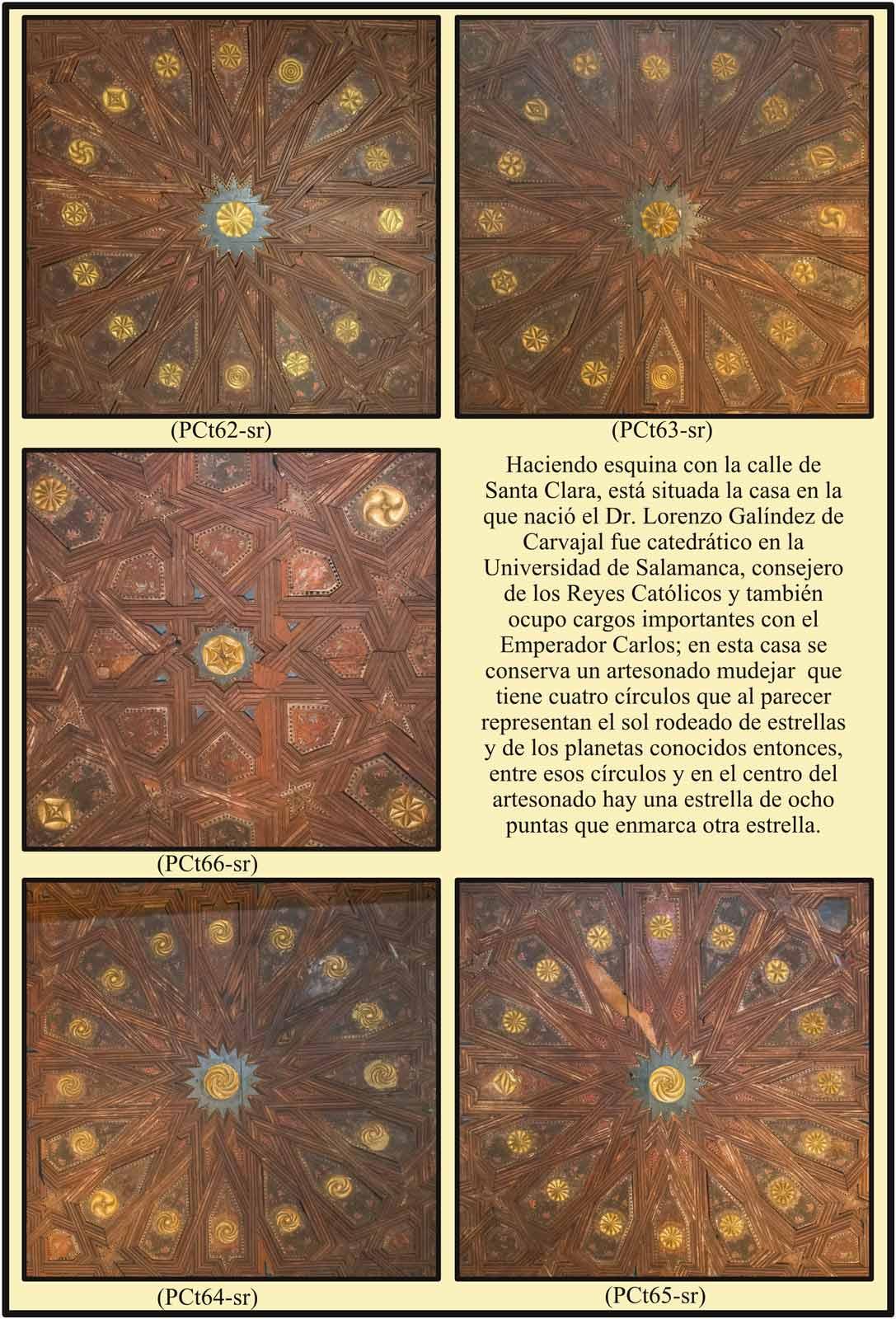 Artesonado mudejar imitando al sol con las estrellas y planetas Casa Dr Galindez