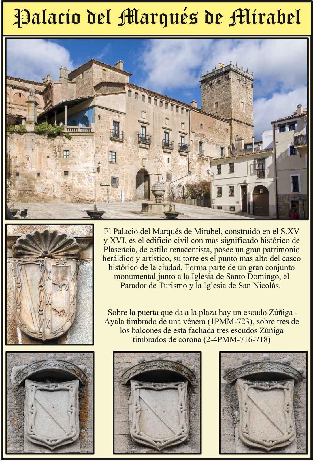 Palacio del Marques de Mirabel Escudos Zúñiga de la fachada  a la plaza de San Nicolás