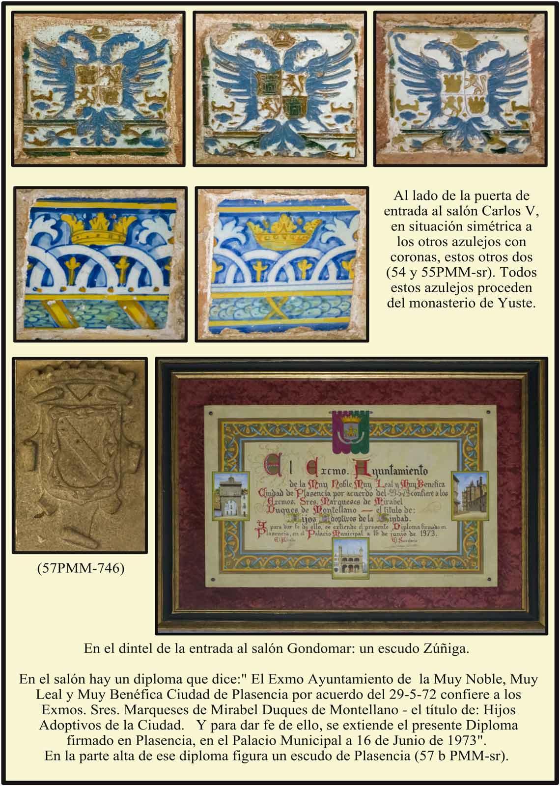 Diploma Ayuntamiento de Plasencia declarando Hijos Adoptivos a los Marqueses de Mirabel