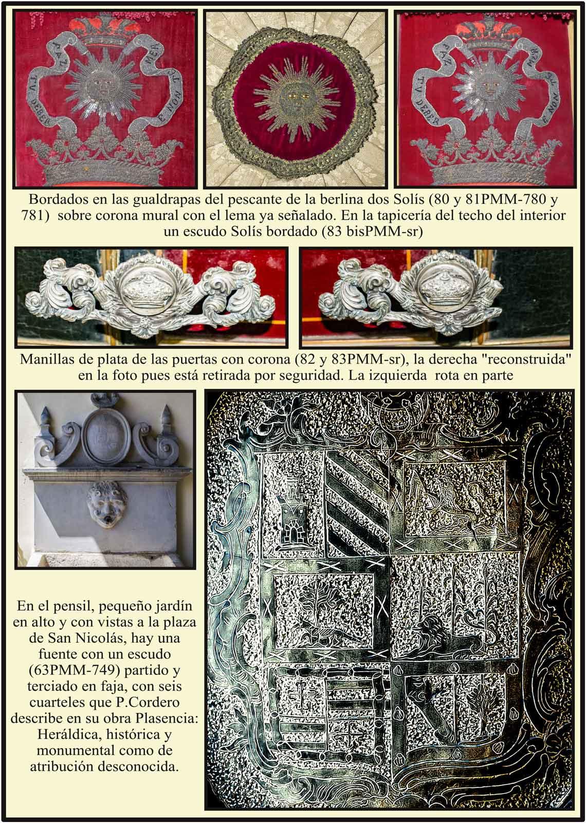 Manillas de plata en las puertas de la berlina de gala. Escudos Solis en las gualdrapas del pescante. Plasencia Palacio del Marqués de Mirabel