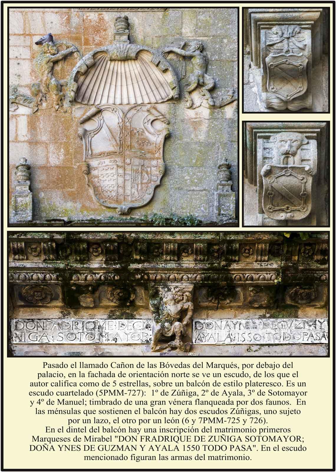 Escudo Zúñiga Ayala Sotomayor Manuel Balcon en el Cañon de las Bóvedas del Marqués
