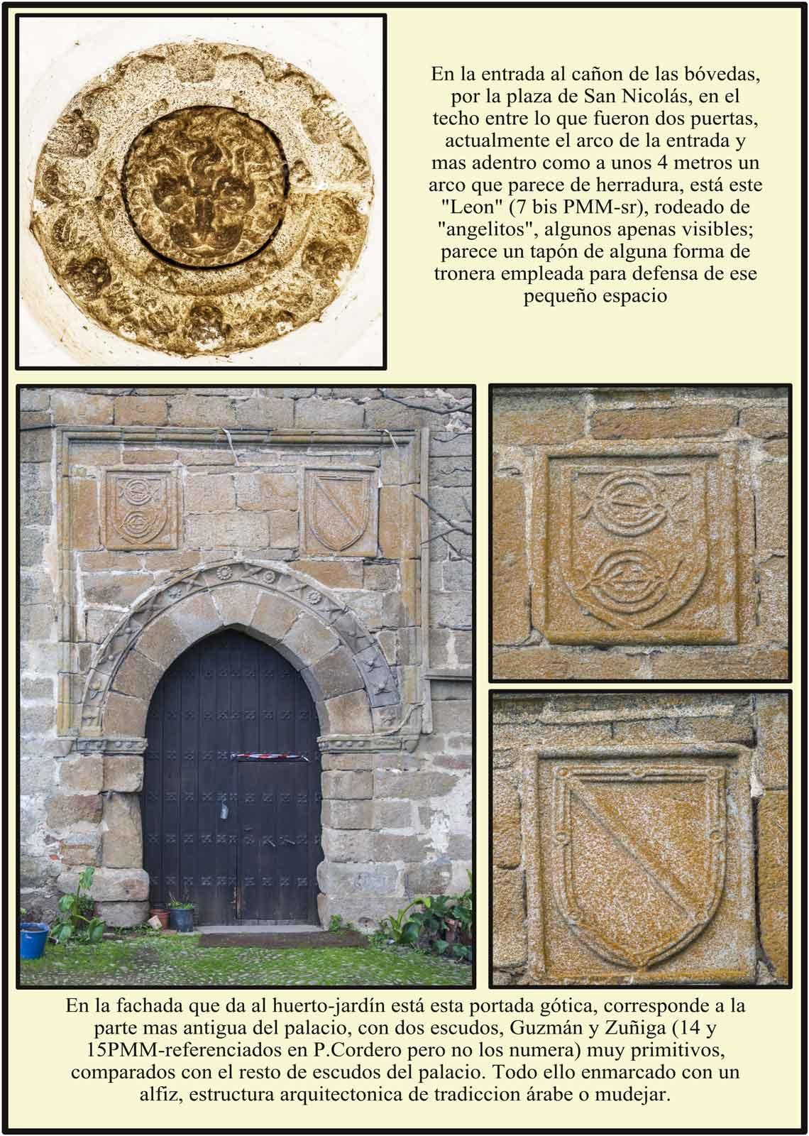Portada gotica primitiva del Palacio del Marqués de Mirabel con escudos