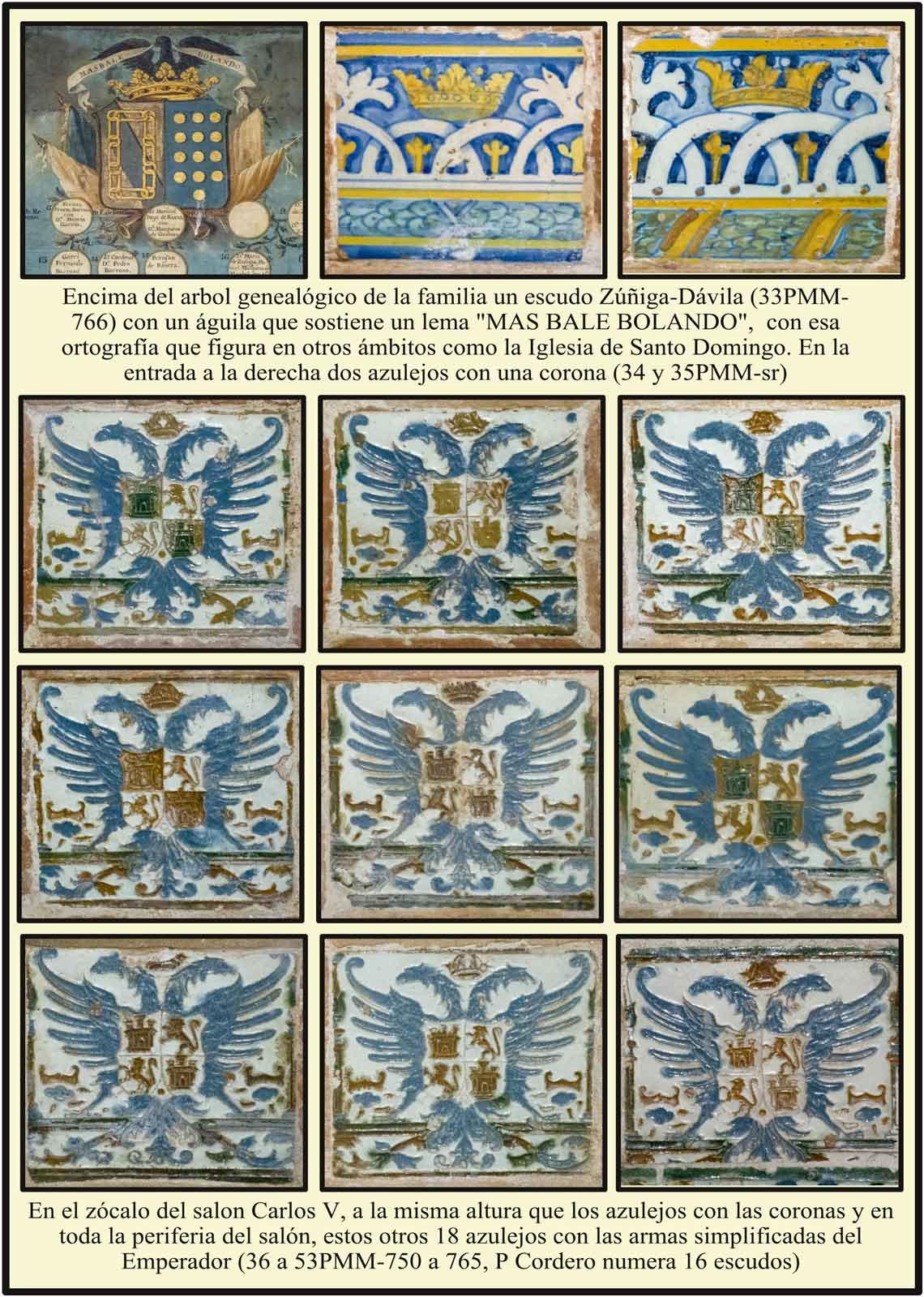 Salón de Carlos V azulejos con escudo del Emperador Carlos V procedentes del Monasterio de Yuste