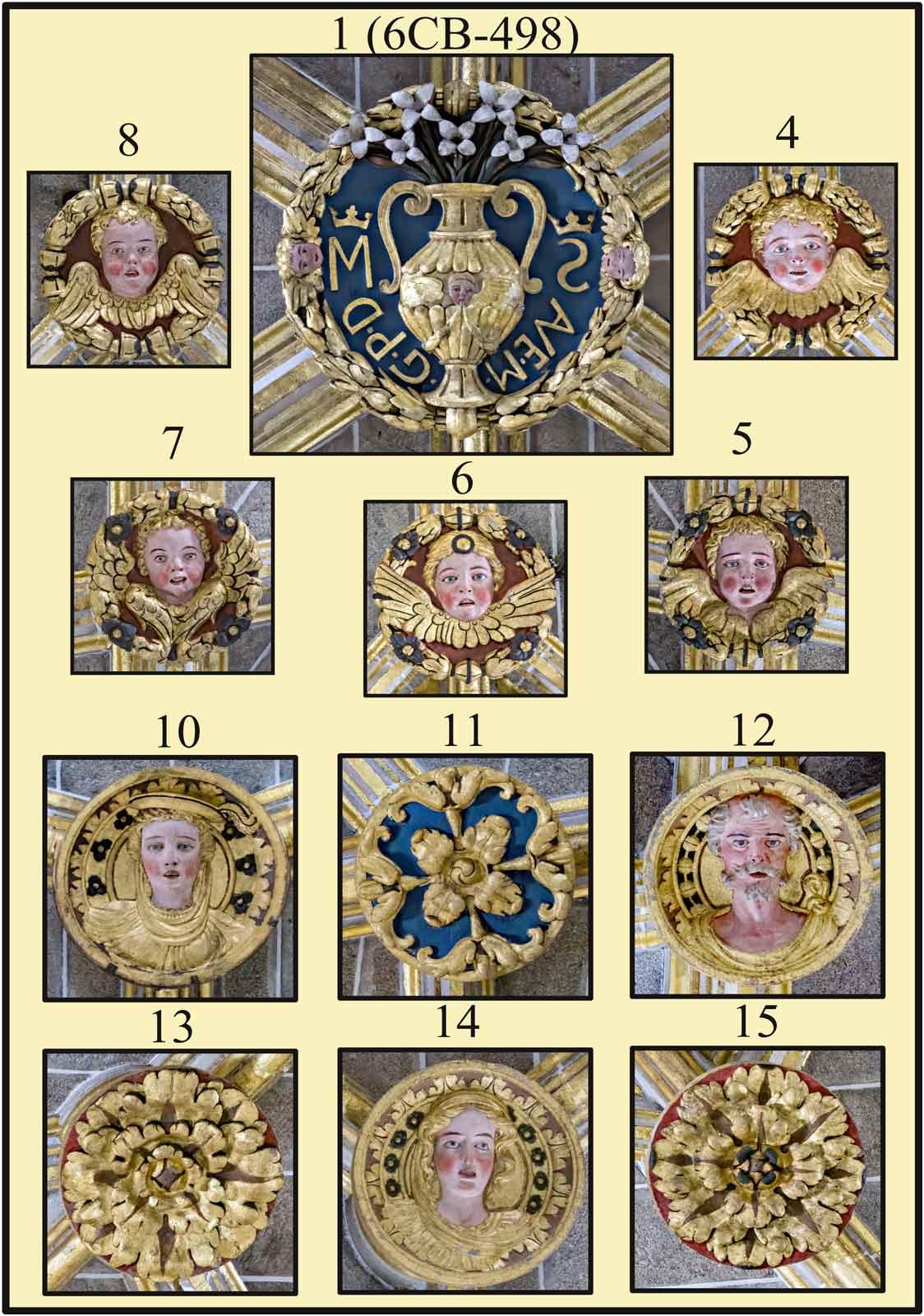Boveda gotica de la catedral de Plasencia Jarron de azucenas simbolo de la virginidad de Maria con las iniciales del Ave Maria Gratia Plena Dominus