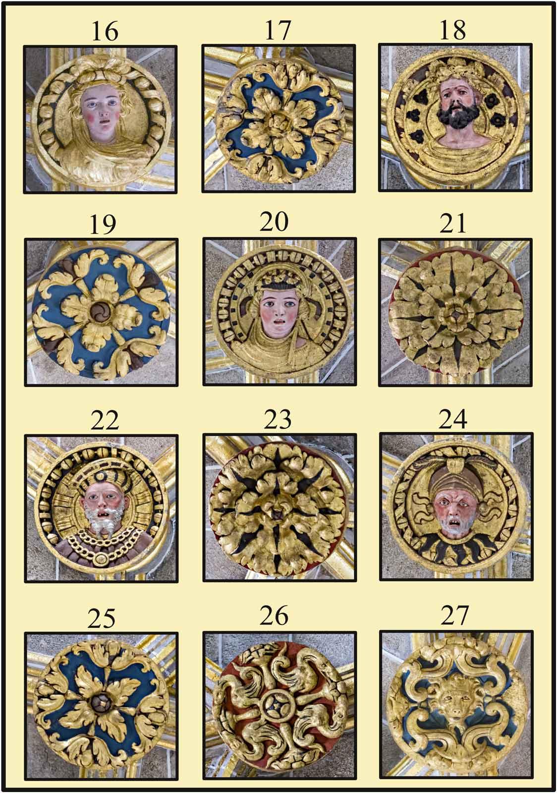 El Emperador Carlos V a distintas edades y probablemente Isabel de Portugal su esposa en las claves policromadas de la Catedral Plasencia