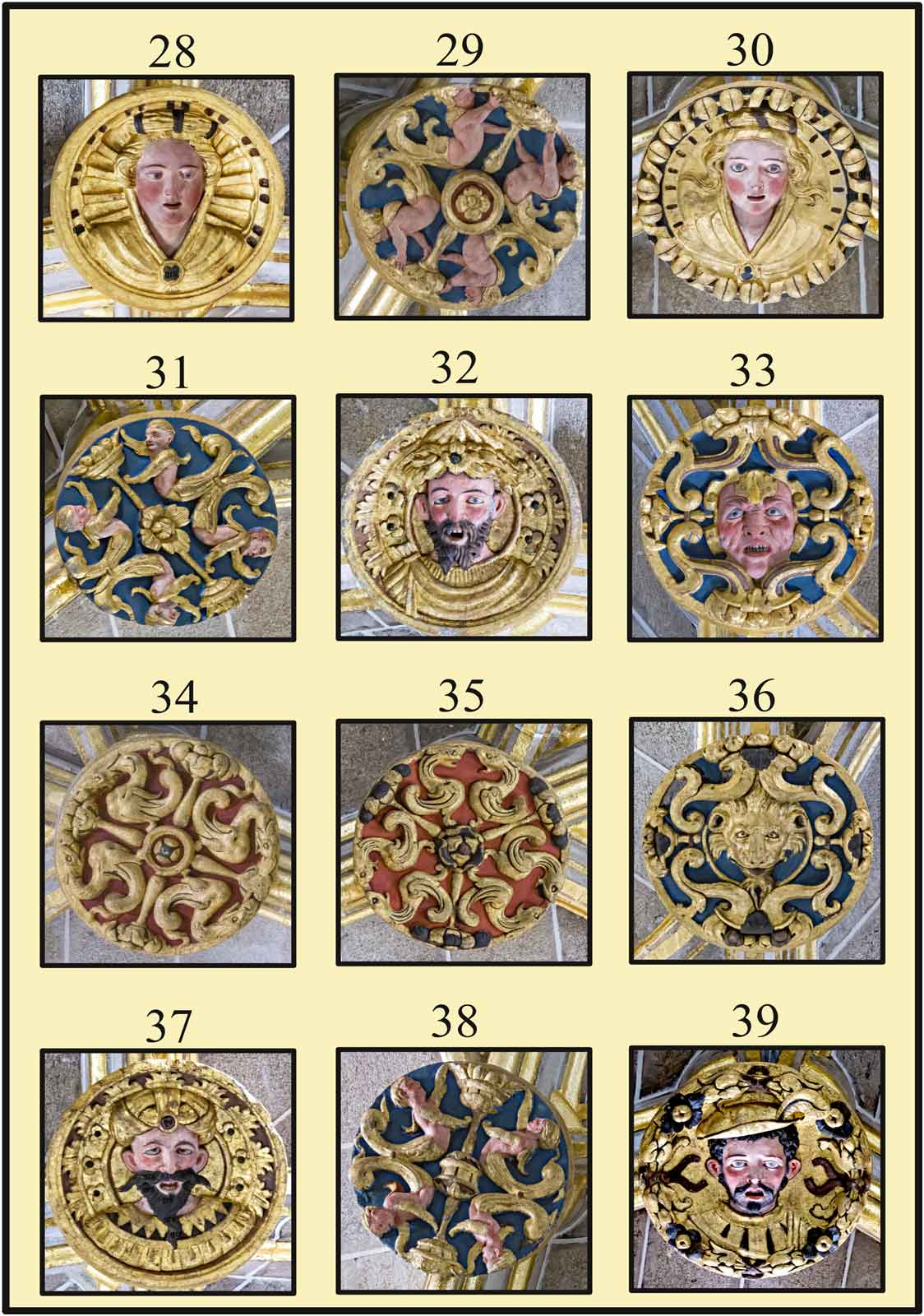 Catedral Nueva Dorada  Claves policromadas del crucero de la Catedral de Plasencia Probable imagen del Principe Carlos hijo de Felipe II autentico sicopata