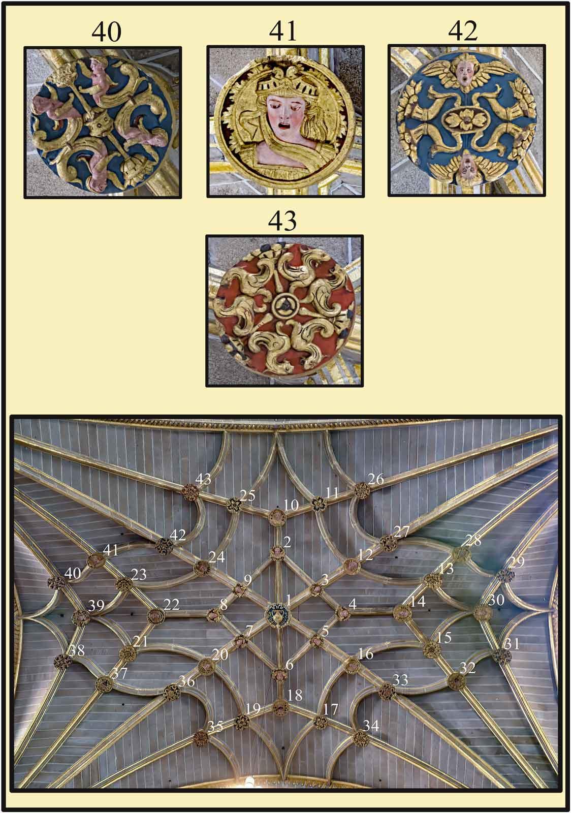 Claves de piedra policromada en la boveda gotica de crucería en el crucero de la Catedral Dorada Plasencia
