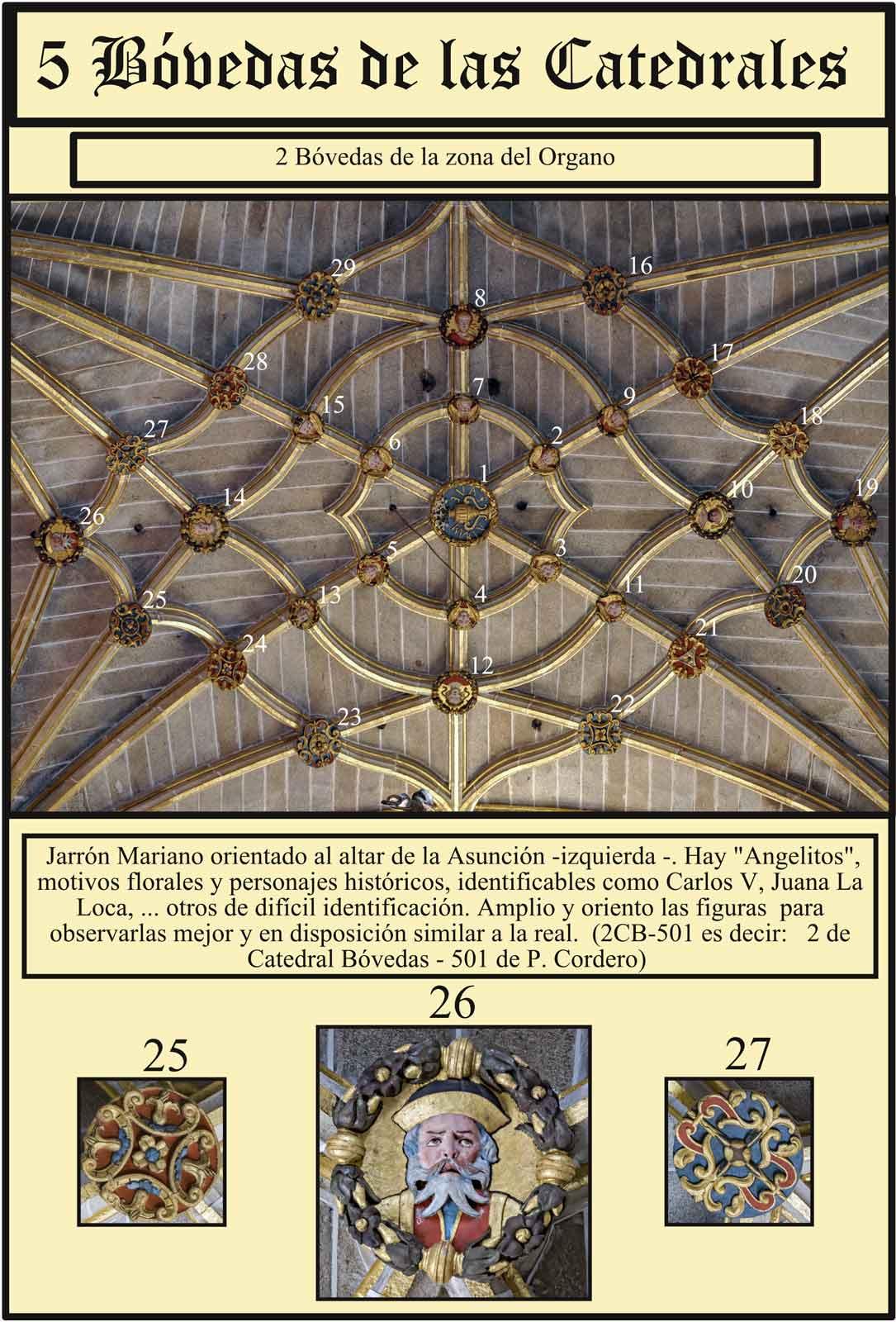 Catedral Nueva Plasencia Claves de piedra policromada en la boveda del organo