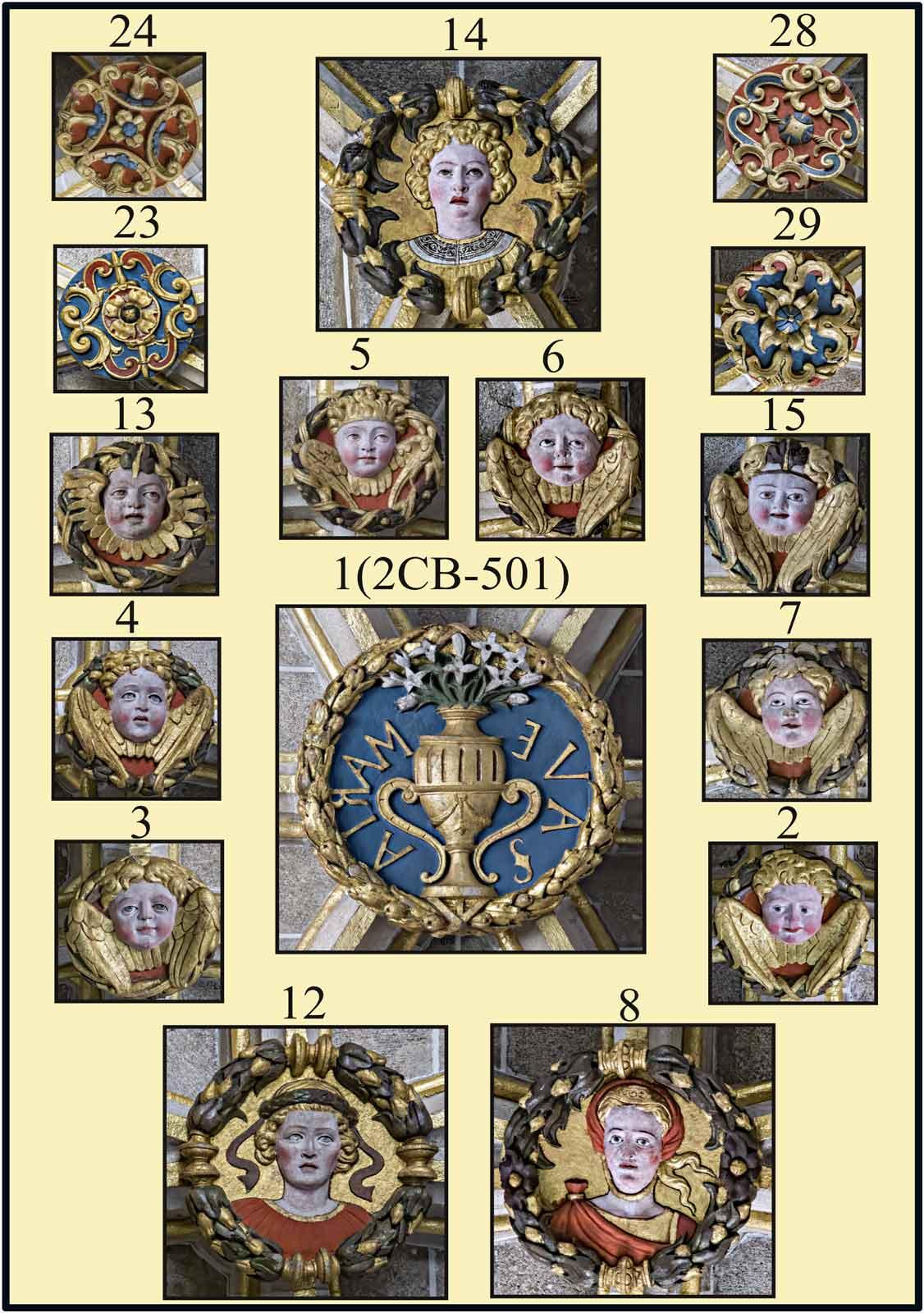 boveda del organo claves policromadas con Jarron Mariano bustos de reinas angelitos y flores