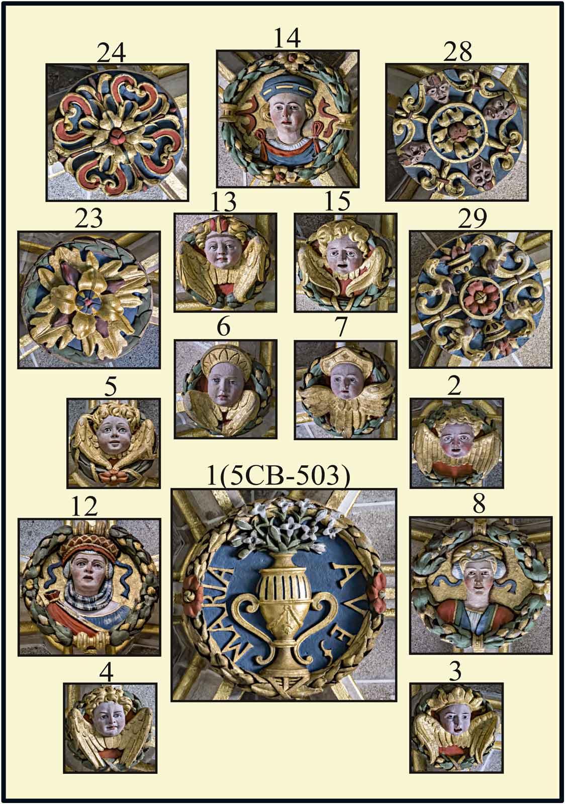 Jarron Mariano en clave de piedra policromada en la boveda del altar de las reliquias Catedral Nueva Dorada Plasencia Caceres