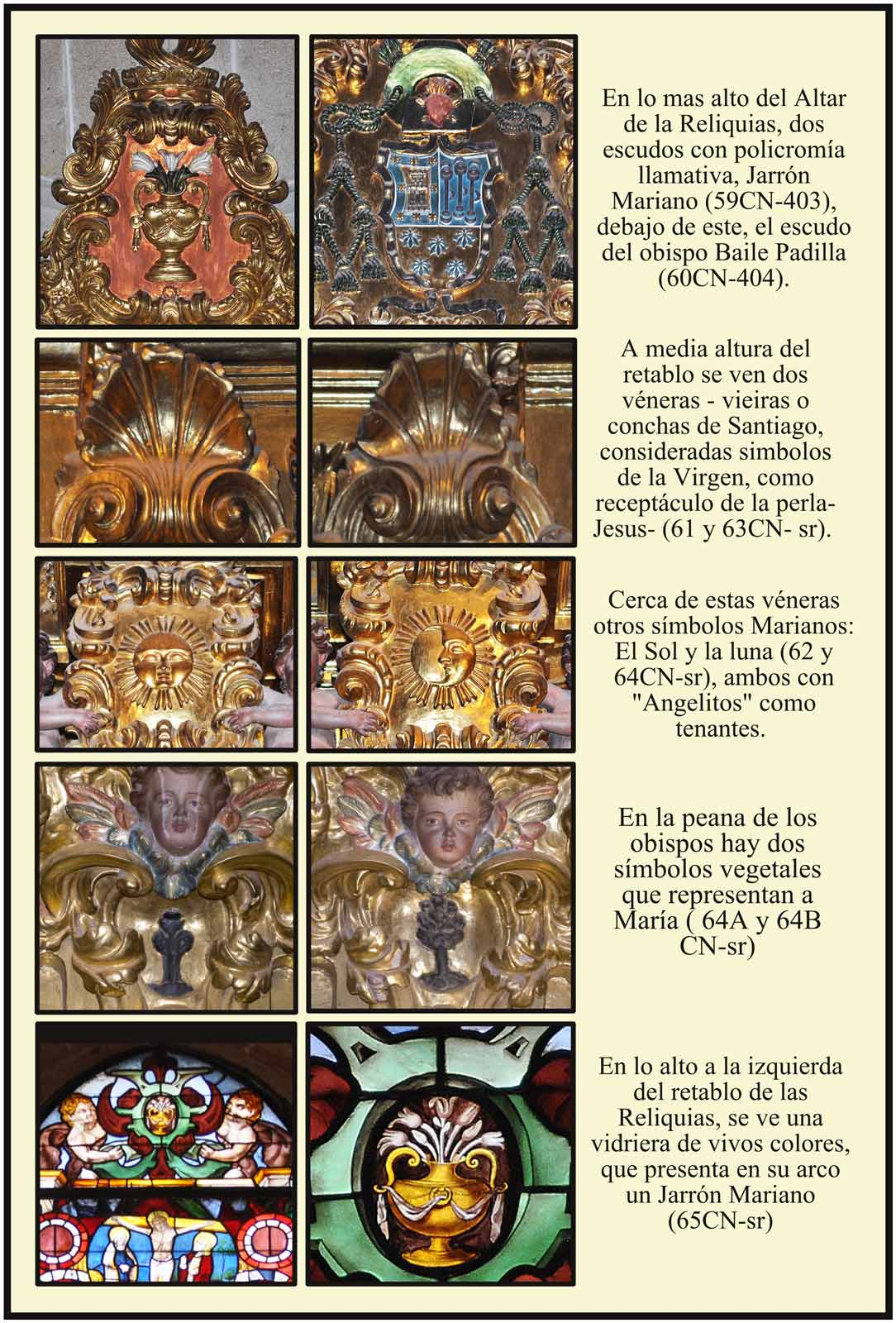 Catedral Plasencia Altar de las Reliquias Escudo del Obispo Padilla simbolos marianos