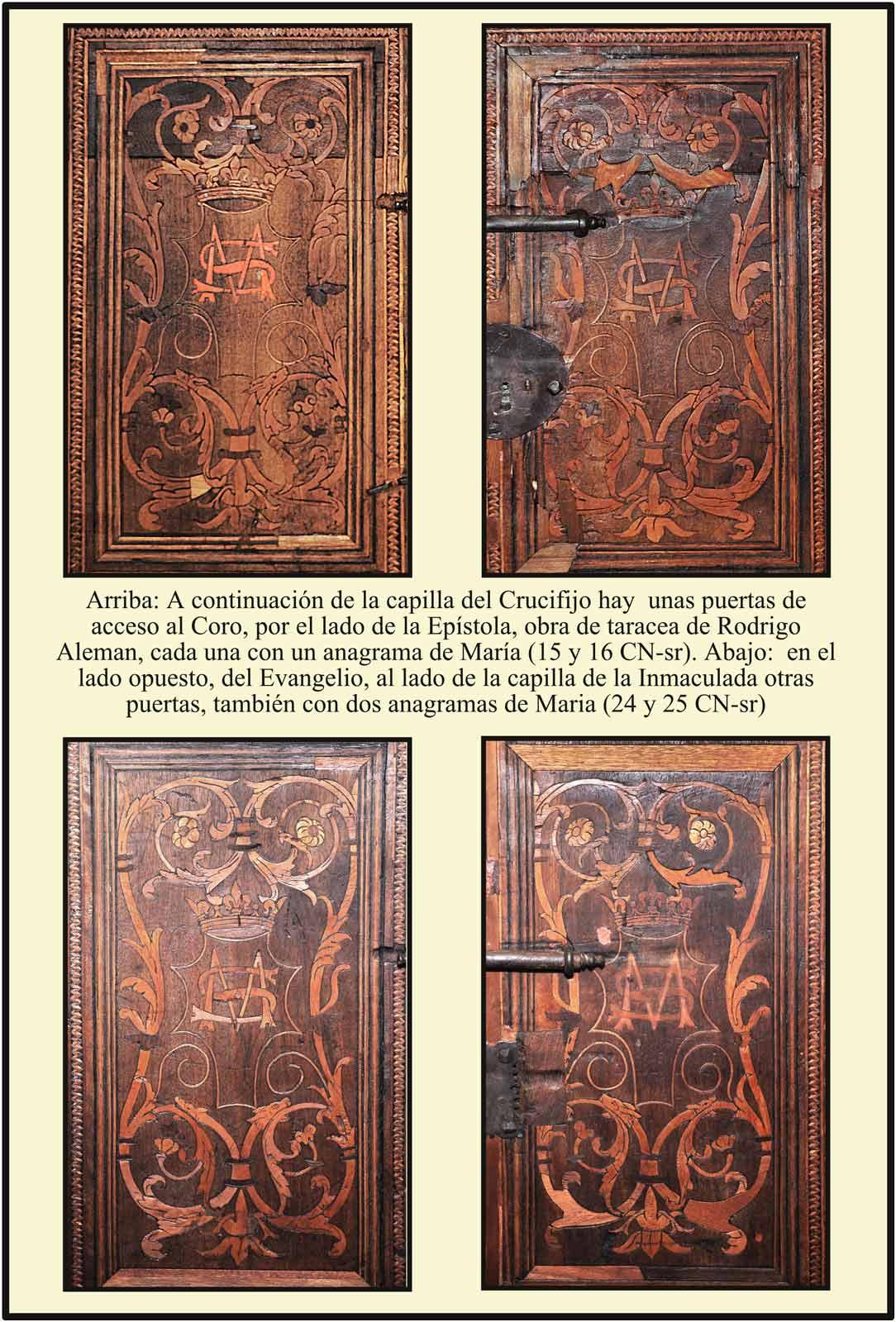 Obra de Rodrigo Aleman puertas de  coro situadas en los laterales, de taracea, con anagramas de María