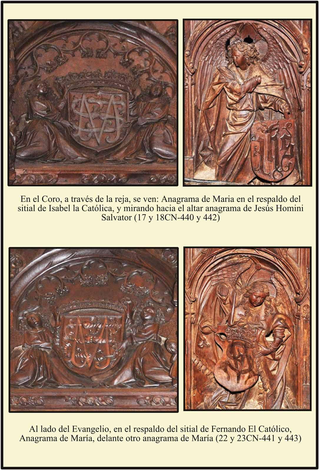 Catedral Plasencia Escudos y anagramas de María y JHS en los sitiales de los Reyes Catolicos