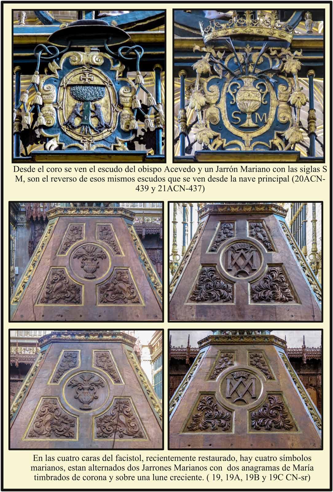 Escudo obispo Acevedo y Jarrón Mariano desde el interior del coro. Anagramas y simbolos marianos en el facistol Plasencia
