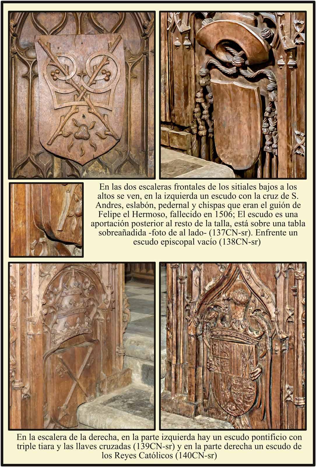 Plasencia Catedral Escudo reproduccion del guion de Felipe I El Hermoso. Escudos pontificio y de los Reyes Cartolicos en el coro de Rodrigo Aleman