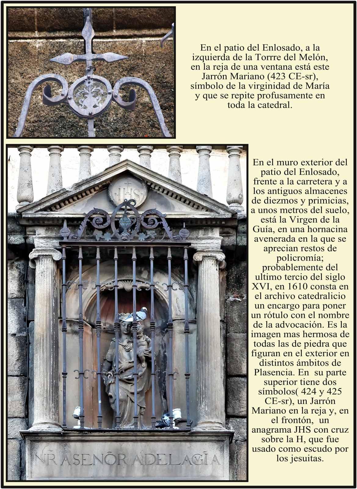 Virgen de la Guia en el exterior del patio del Enlosado Catedral Dorada Nueva de Plasencia