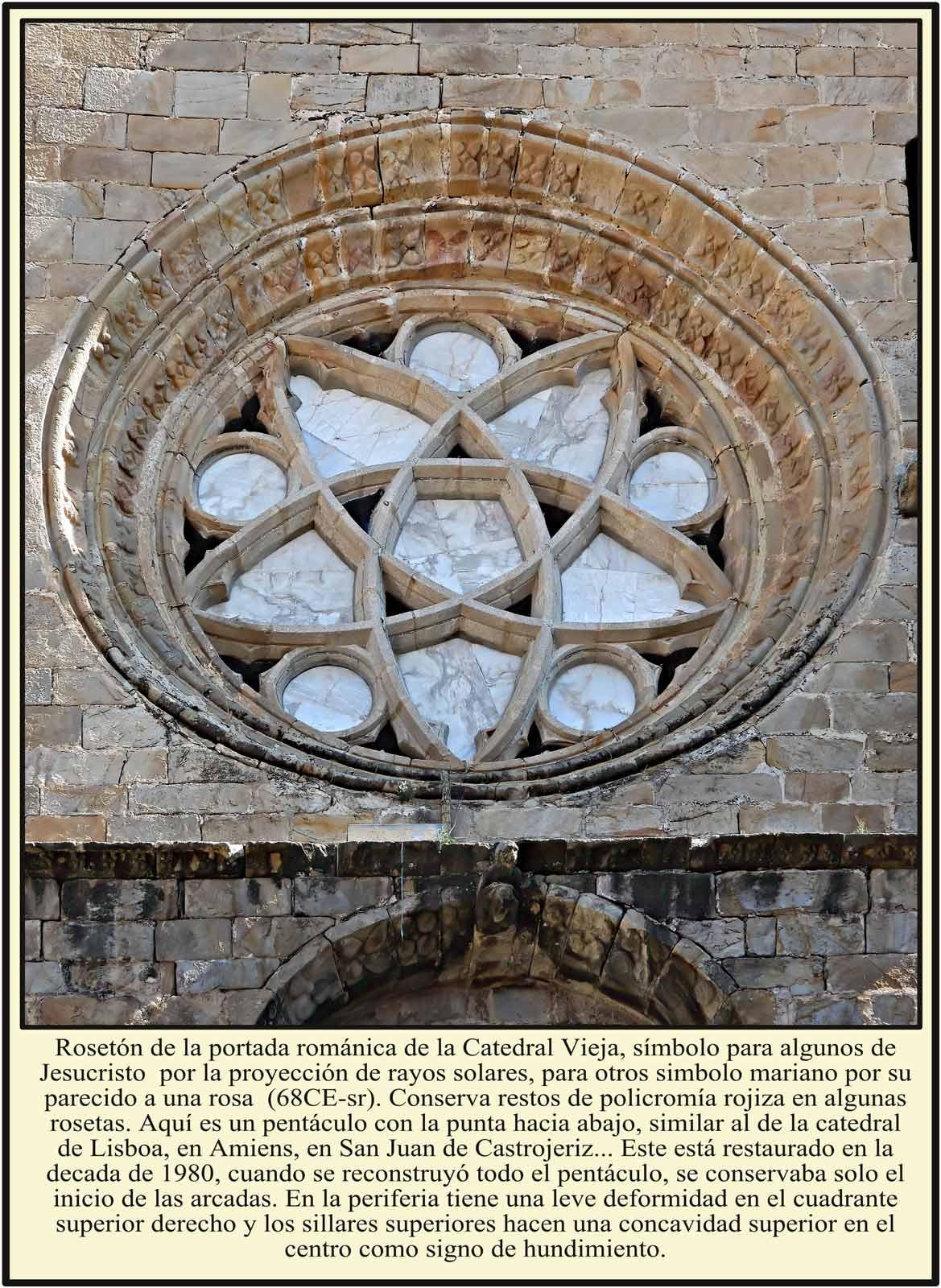 Roseton en la portada de la Catedral Vieja de Plasencia con un pentaculo de vertice hacia abajo