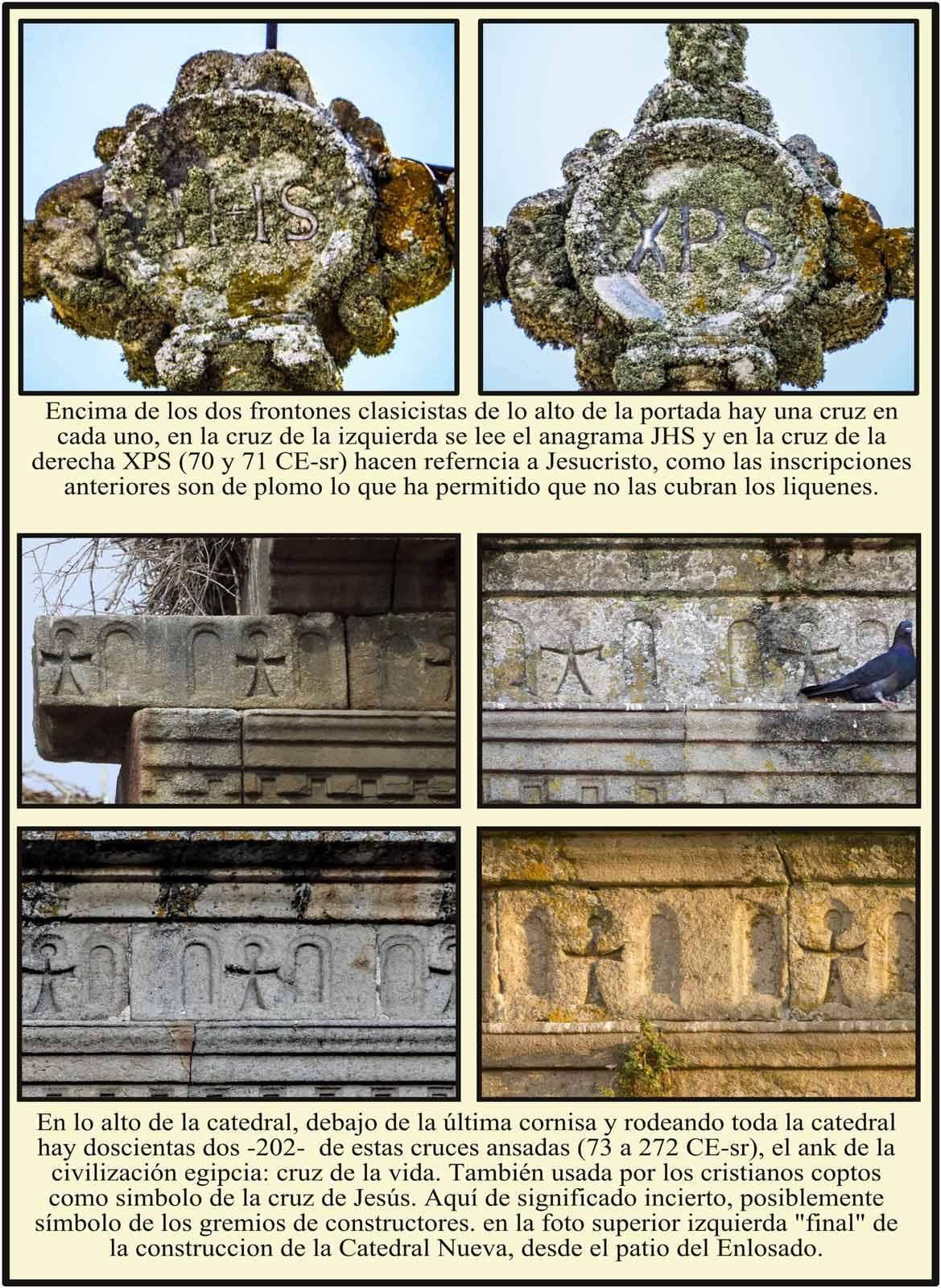 Anagramas JHS y XRS en las cruces sobre Frontones clasicistas de la Portada Norte Cuz Ansada o Ank egipcia en Catedral de Plasencia