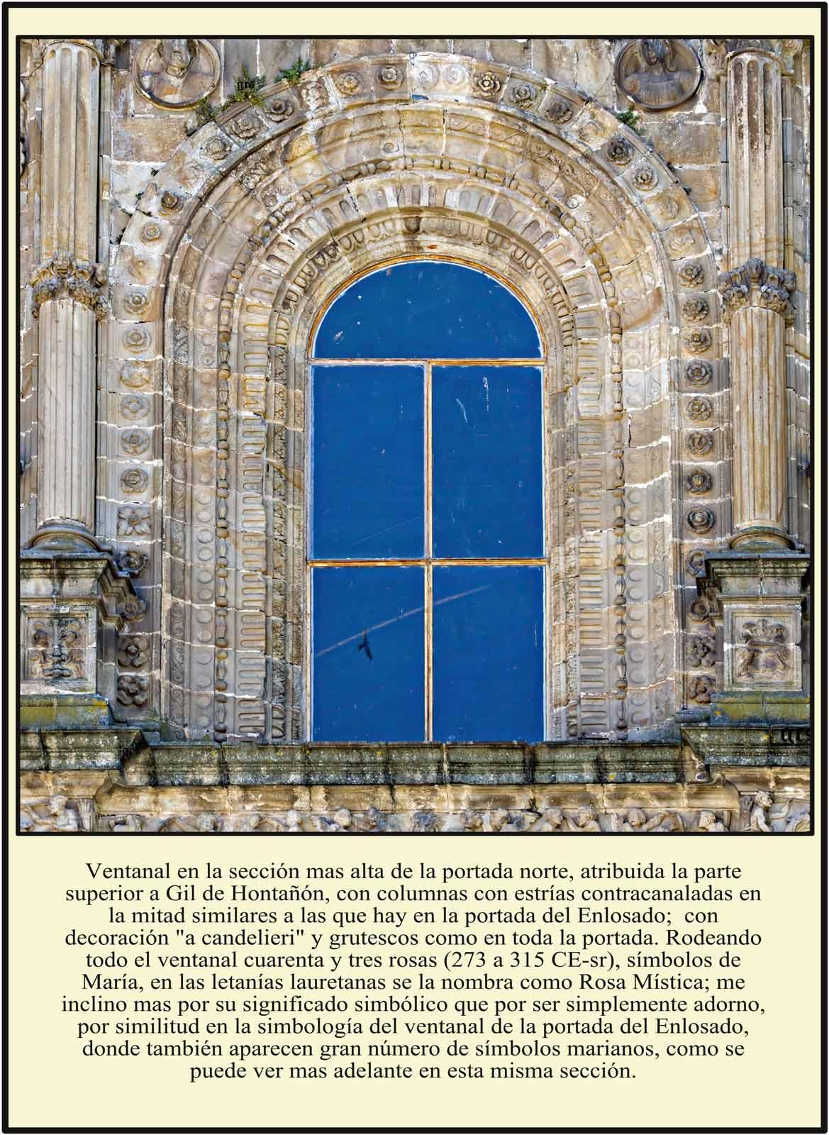 Ventanal Portada Norte Símbolos Marianos en la Catedral Dorada Plasencia