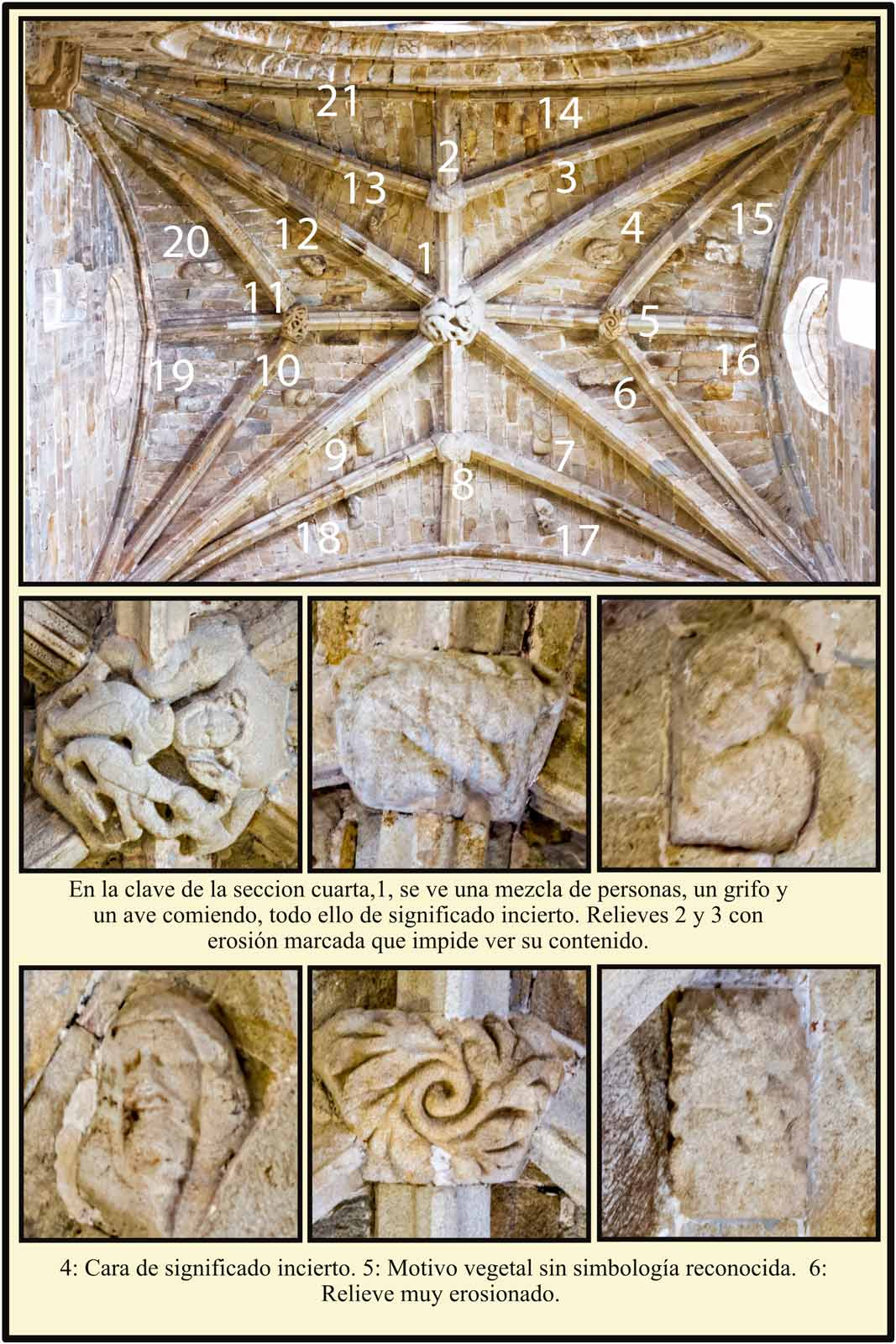 simbolos del romanico en los relieves de las bovedas de la Catedral Vieja de Plasencia